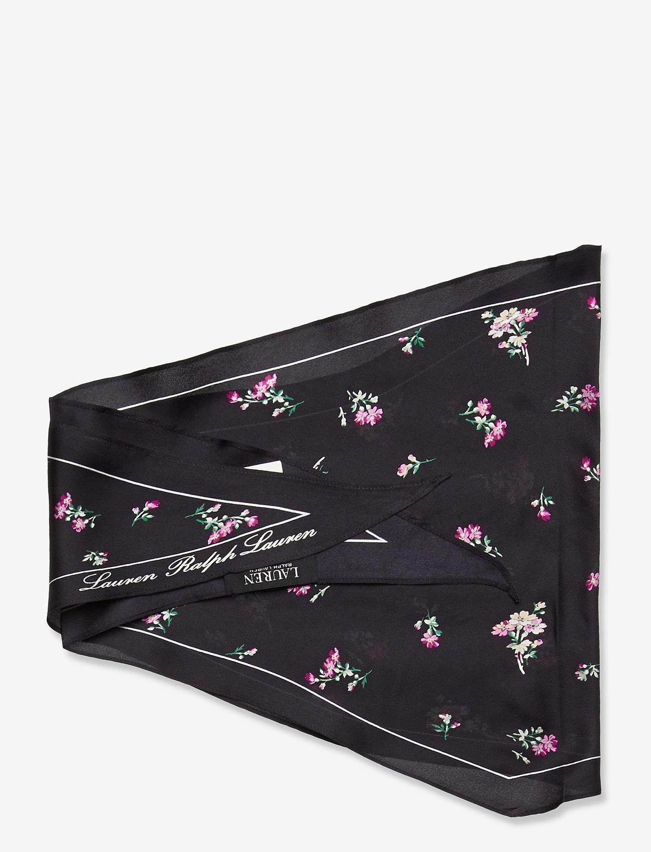 Lauren Ralph Lauren - Carolyn Silk Twill Scarf - accessories - black floral - 1
