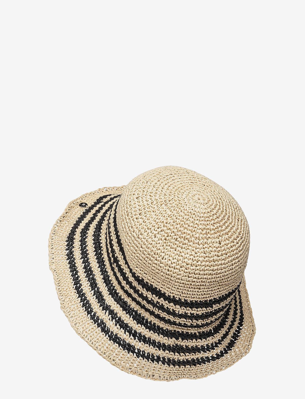 Lauren Ralph Lauren - Striped Crochet Bucket Hat - stråhatte - natural/black - 1