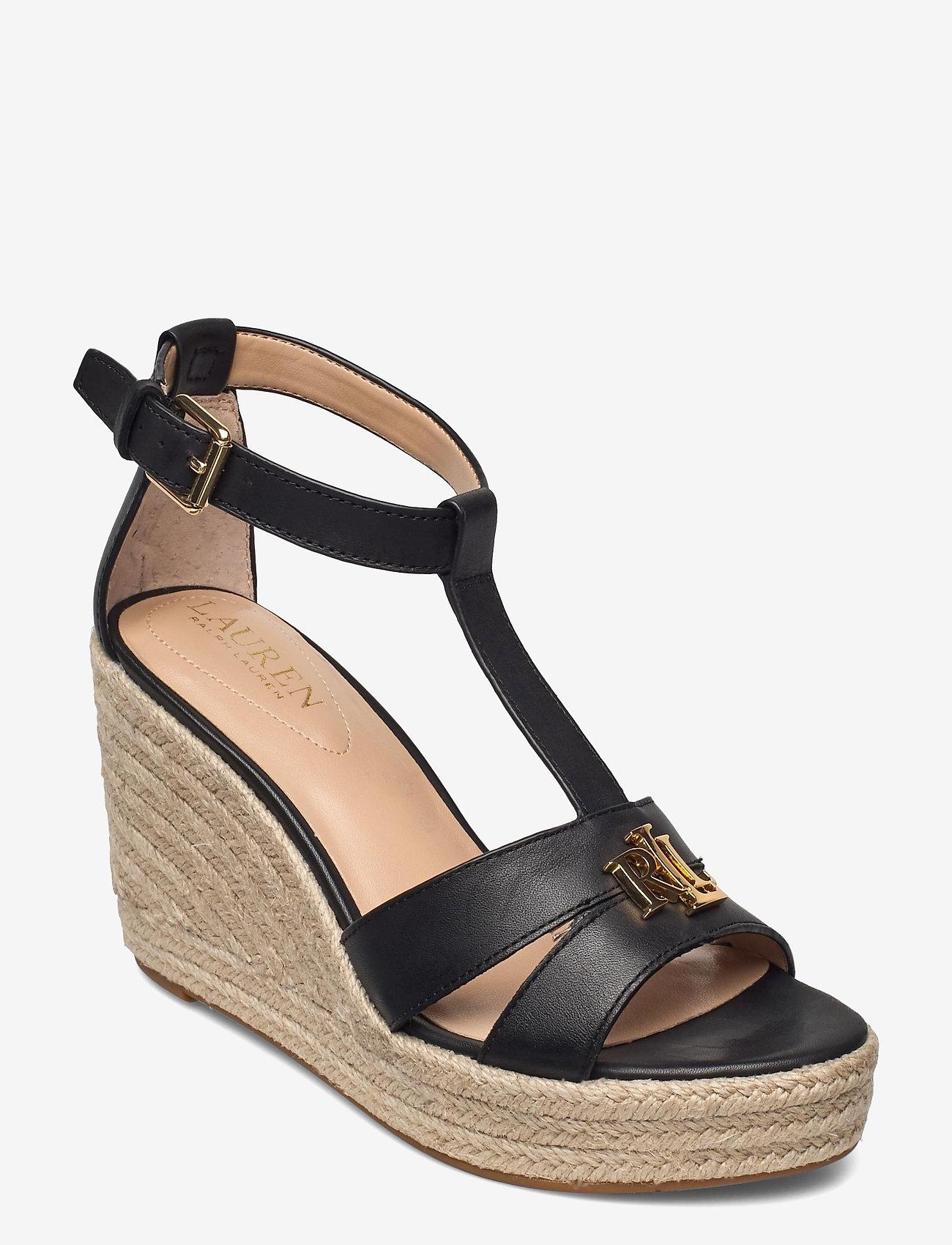 Lauren Ralph Lauren - Hale Leather Sandal - højhælede espadrillos - black - 0