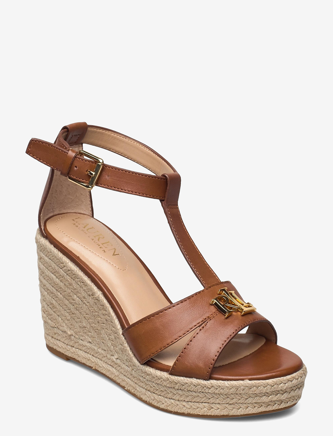 Lauren Ralph Lauren - Hale Leather Sandal - højhælede espadrillos - deep saddle tan - 0