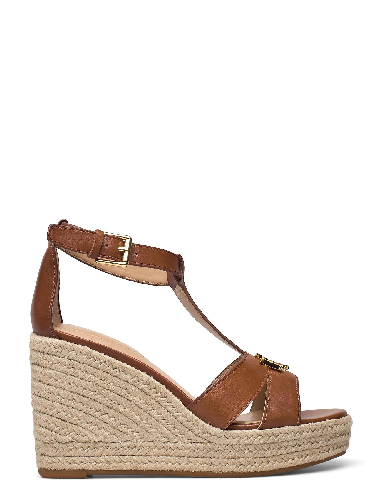 Lauren Ralph Lauren - Hale Leather Sandal - højhælede espadrillos - deep saddle tan - 1