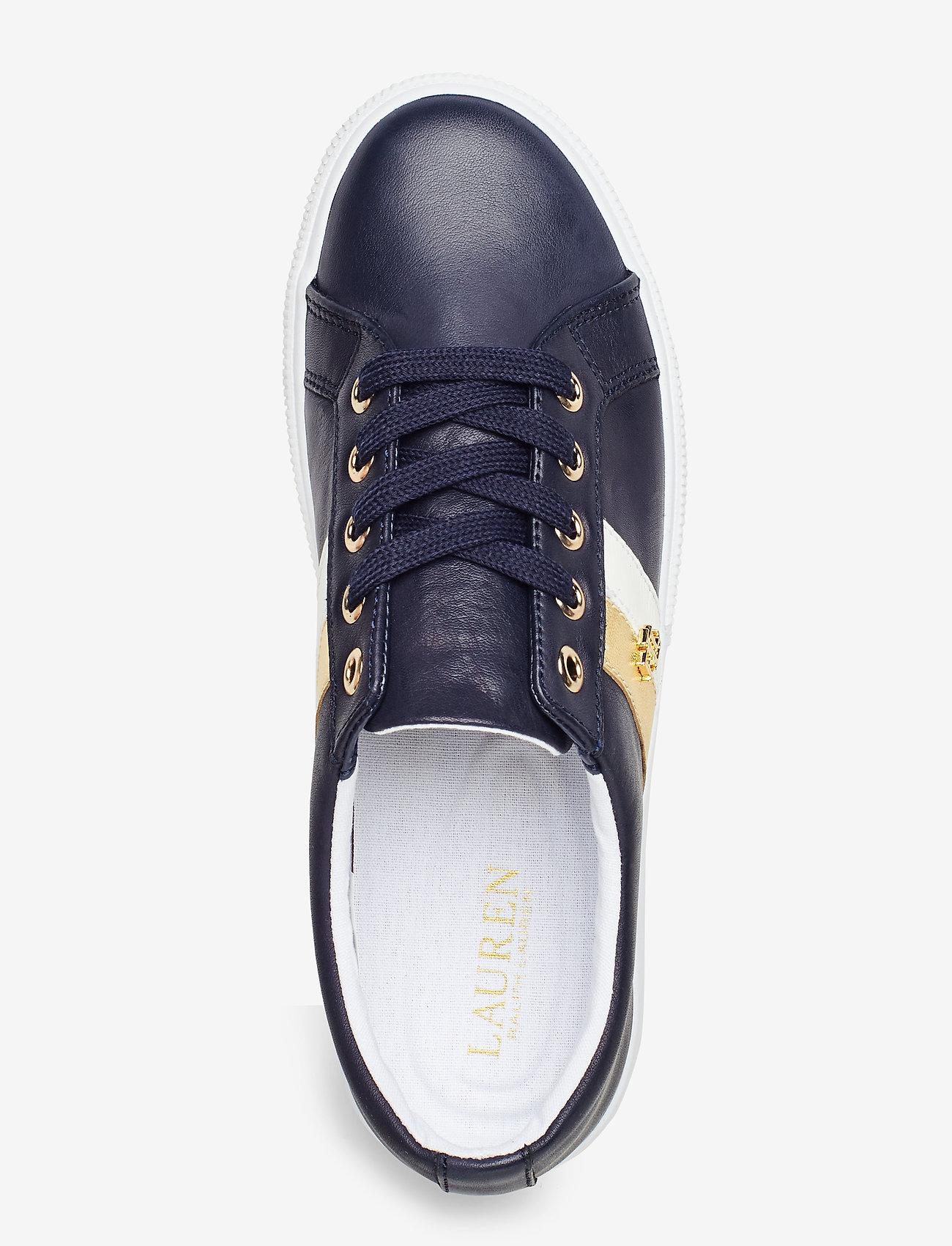 Janson Ii Leather Sneaker (Lauren Navy/optic) - Lauren Ralph Lauren