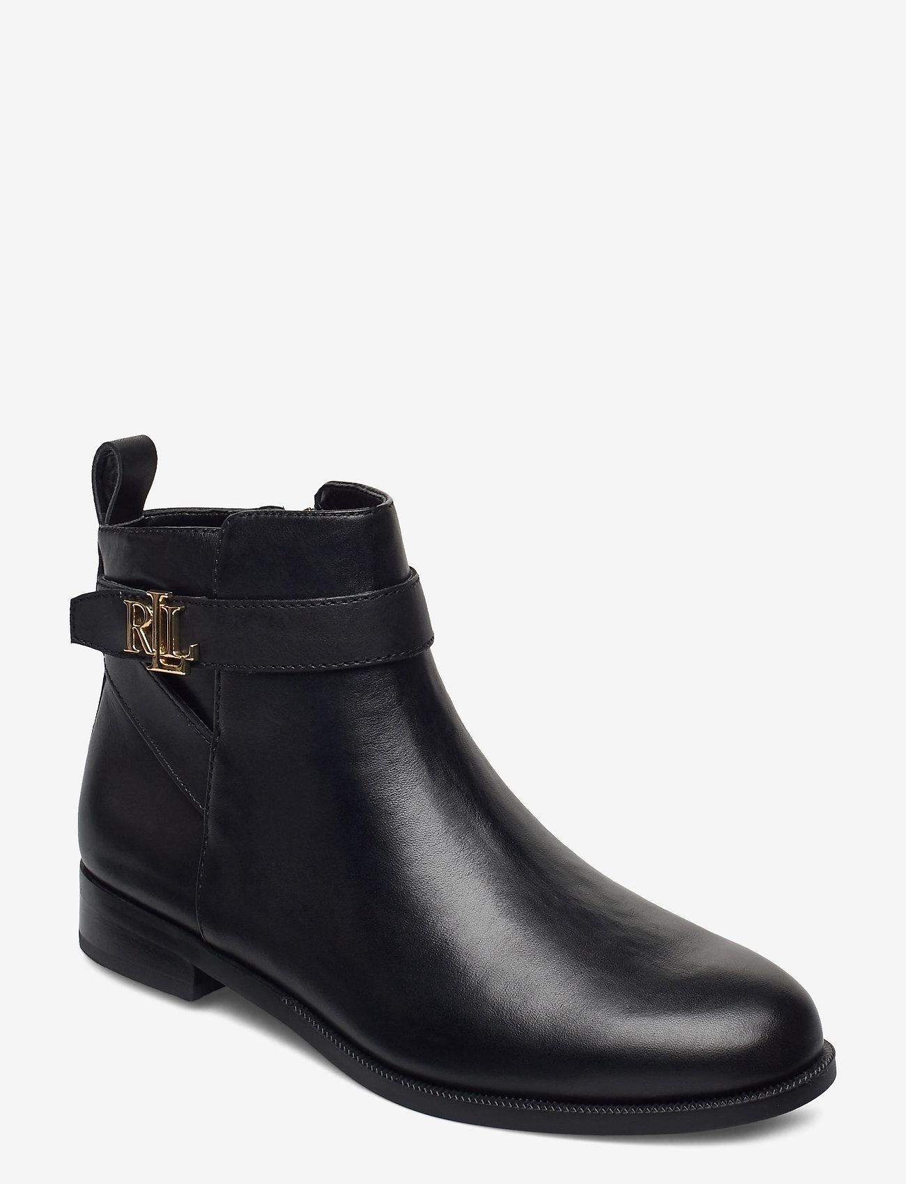 Lauren Ralph Lauren - Bonne Leather Bootie - flade ankelstøvler - black - 0