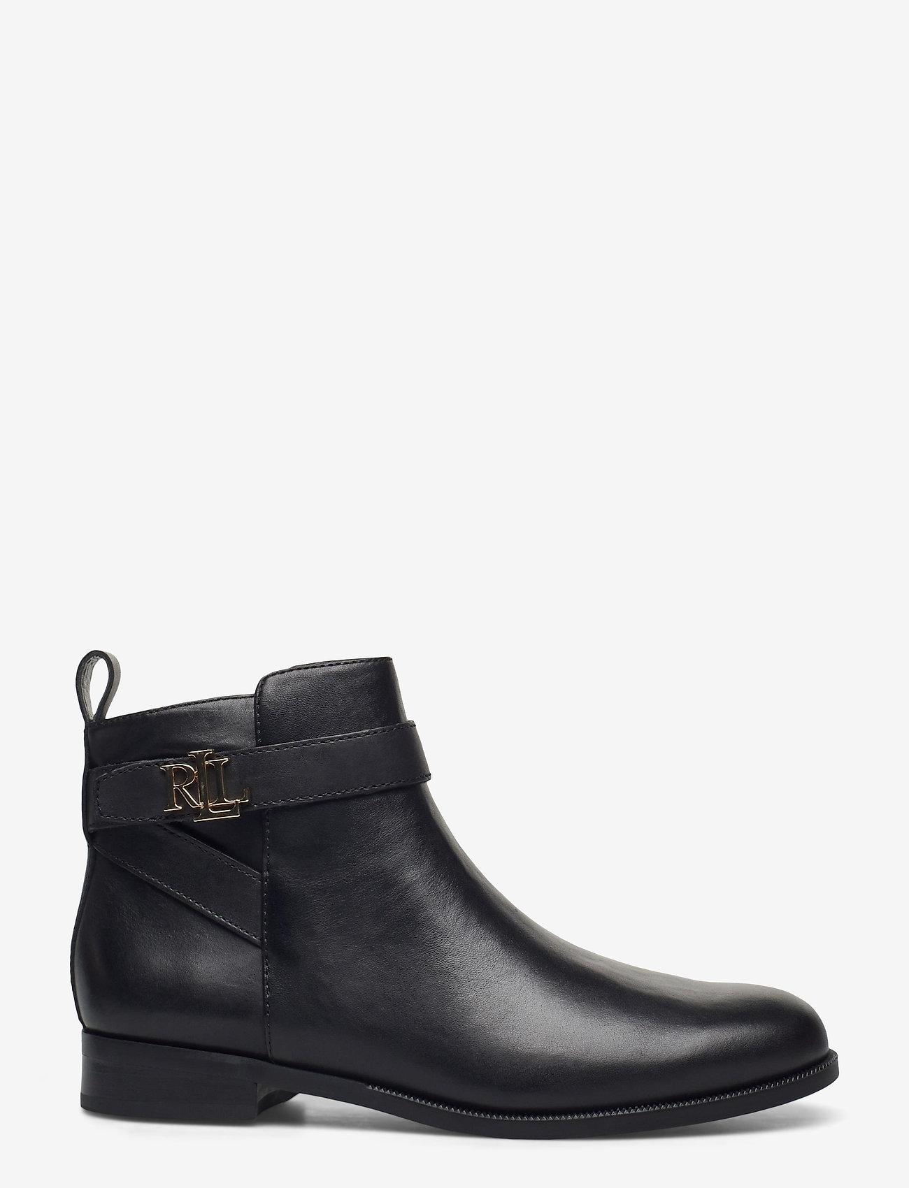Lauren Ralph Lauren - Bonne Leather Bootie - flade ankelstøvler - black - 1