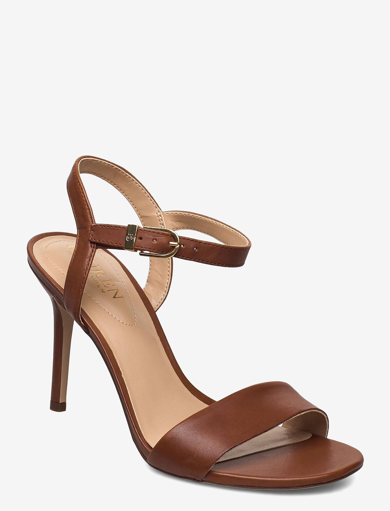 Lauren Ralph Lauren - Gwen Leather Sandal - højhælede sandaler - deep saddle tan - 0