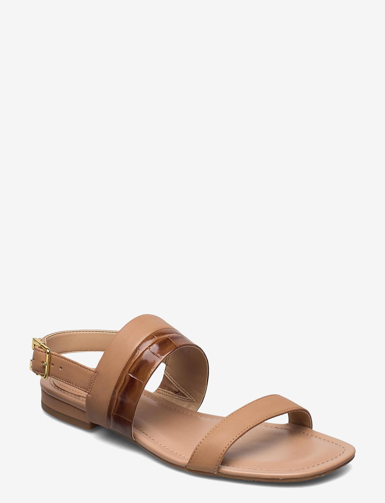 Lauren Ralph Lauren - Kristi Embossed Nappa Leather Sandal - flade sandaler - nude/deep saddle - 0