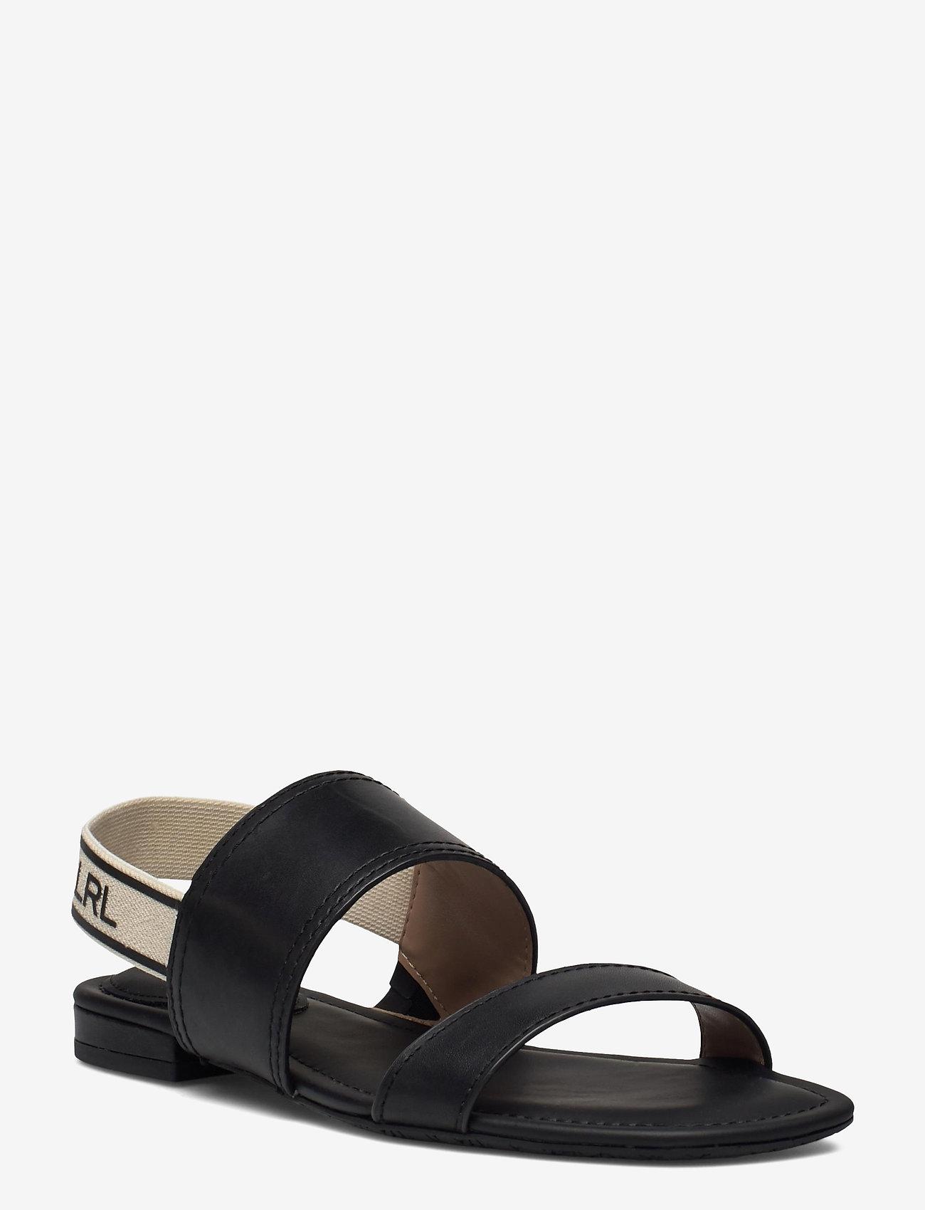 Lauren Ralph Lauren - Karter Burnished Leather Sandal - flade sandaler - black - 0