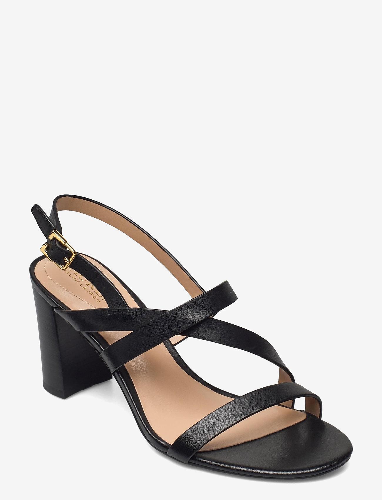 Lauren Ralph Lauren - Mackensie Burnished Leather Sandal - højhælede sandaler - black - 0