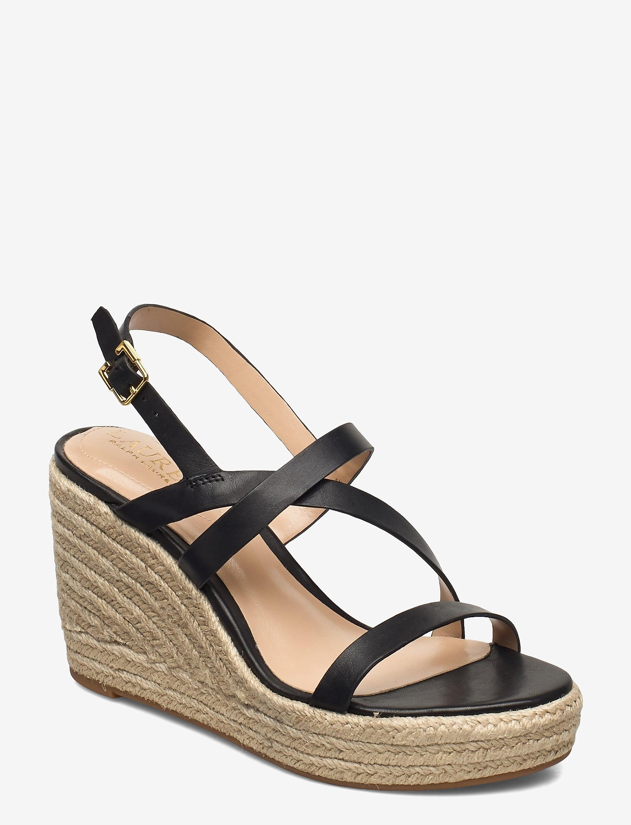 Lauren Ralph Lauren - Haleigh Burnished Leather Espadrille - espadrilles met sleehak - black - 0