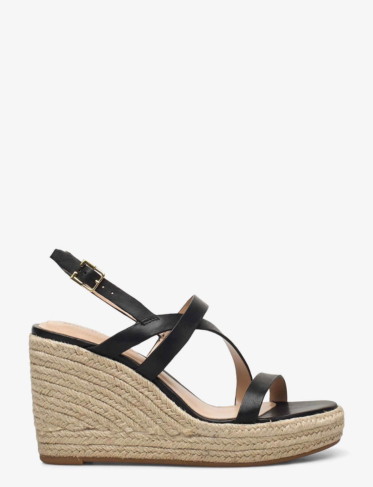 Lauren Ralph Lauren - Haleigh Burnished Leather Espadrille - espadrilles met sleehak - black - 1