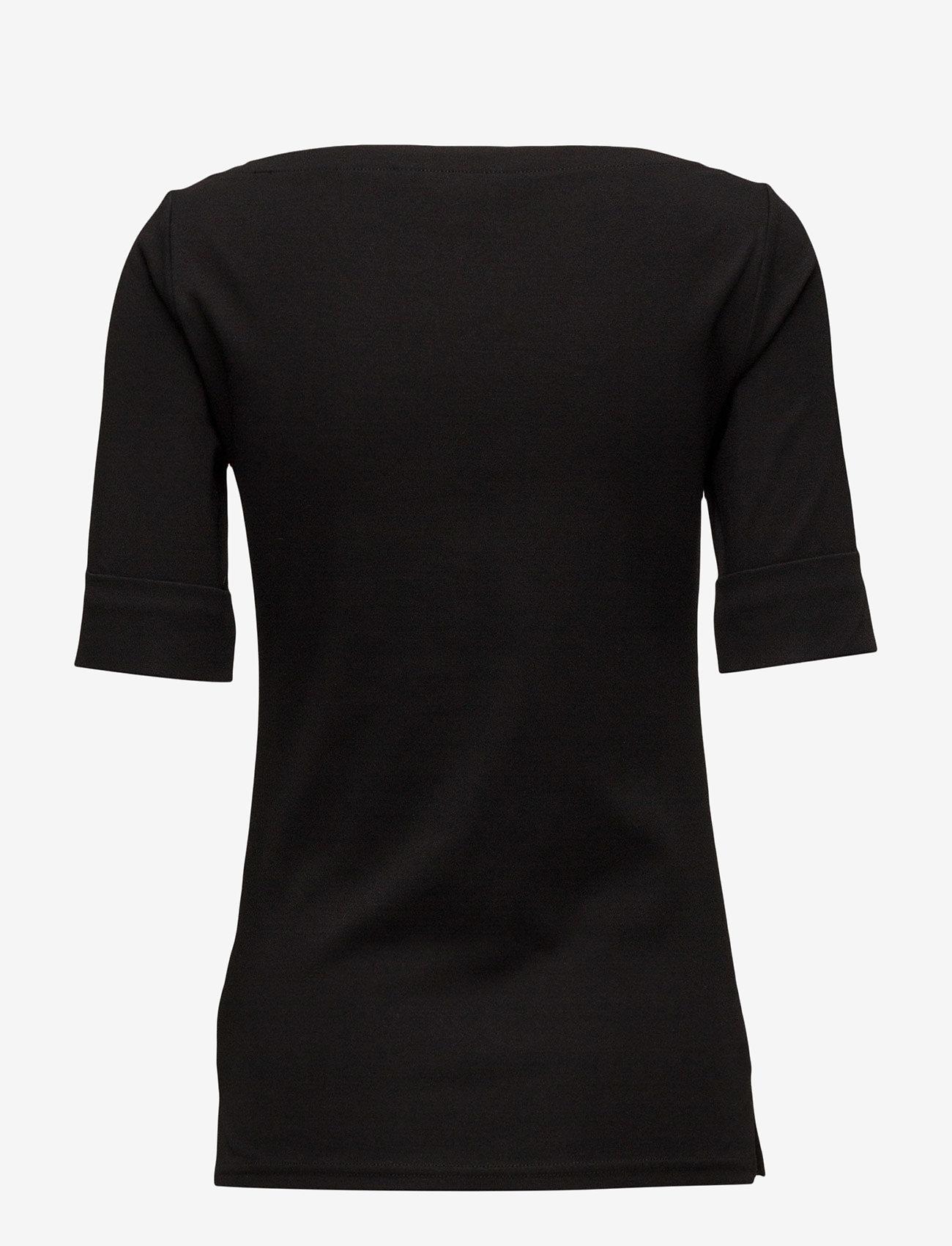 Lauren Ralph Lauren - Cotton Boatneck Top - t-shirts - polo black - 1