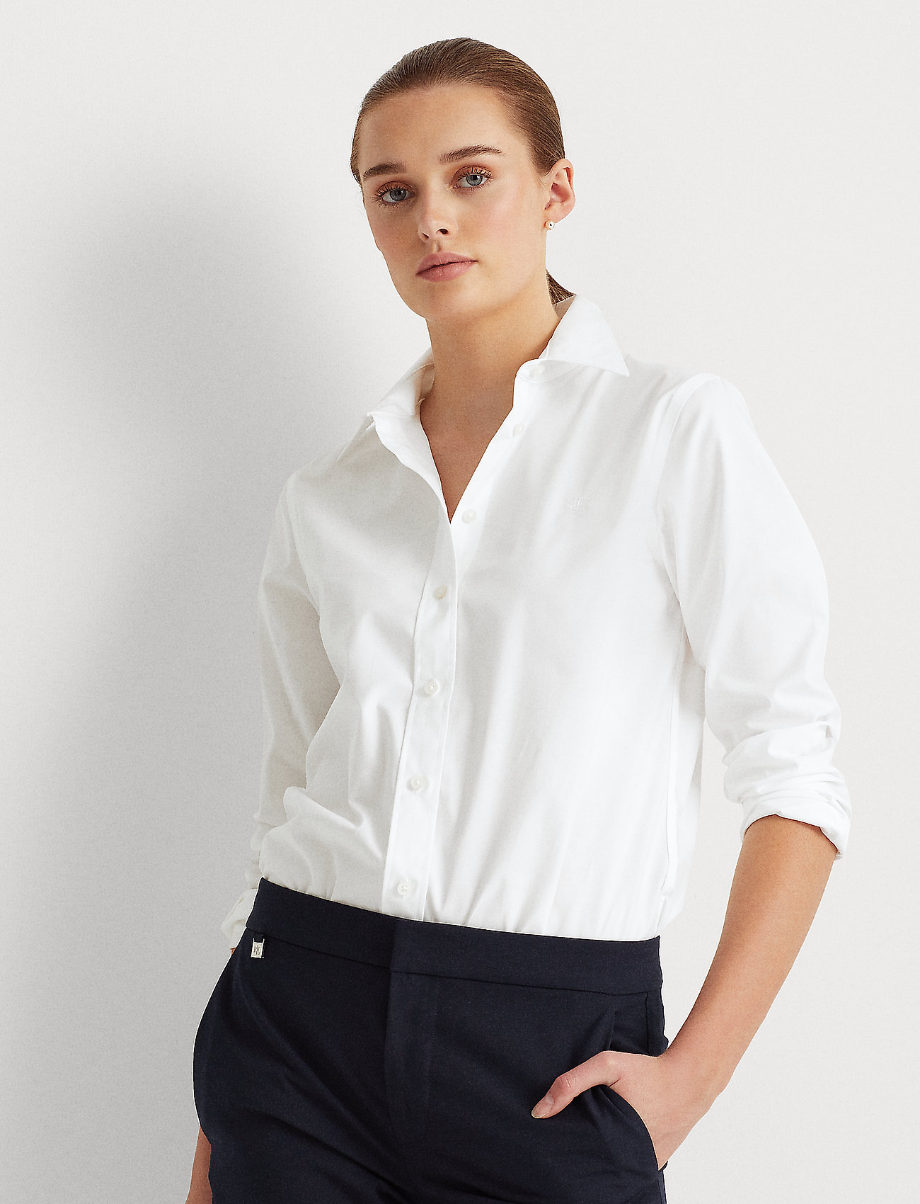 Lauren Ralph Lauren - No-Iron Button-Down Shirt - langærmede skjorter - white - 0