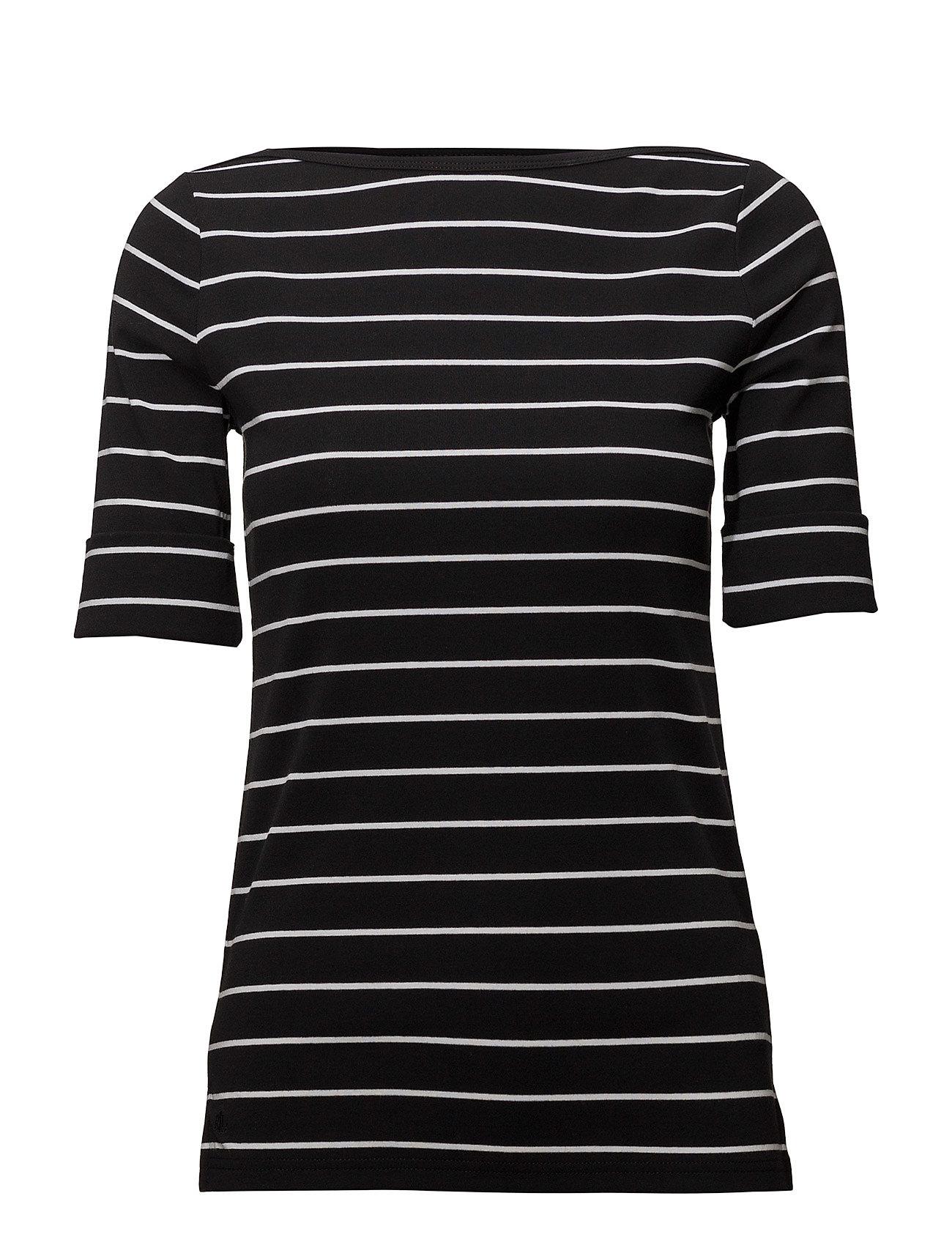 Lauren Ralph Lauren Knit Elbow-Length-Sleeve Top - POLO BLACK/WHITE