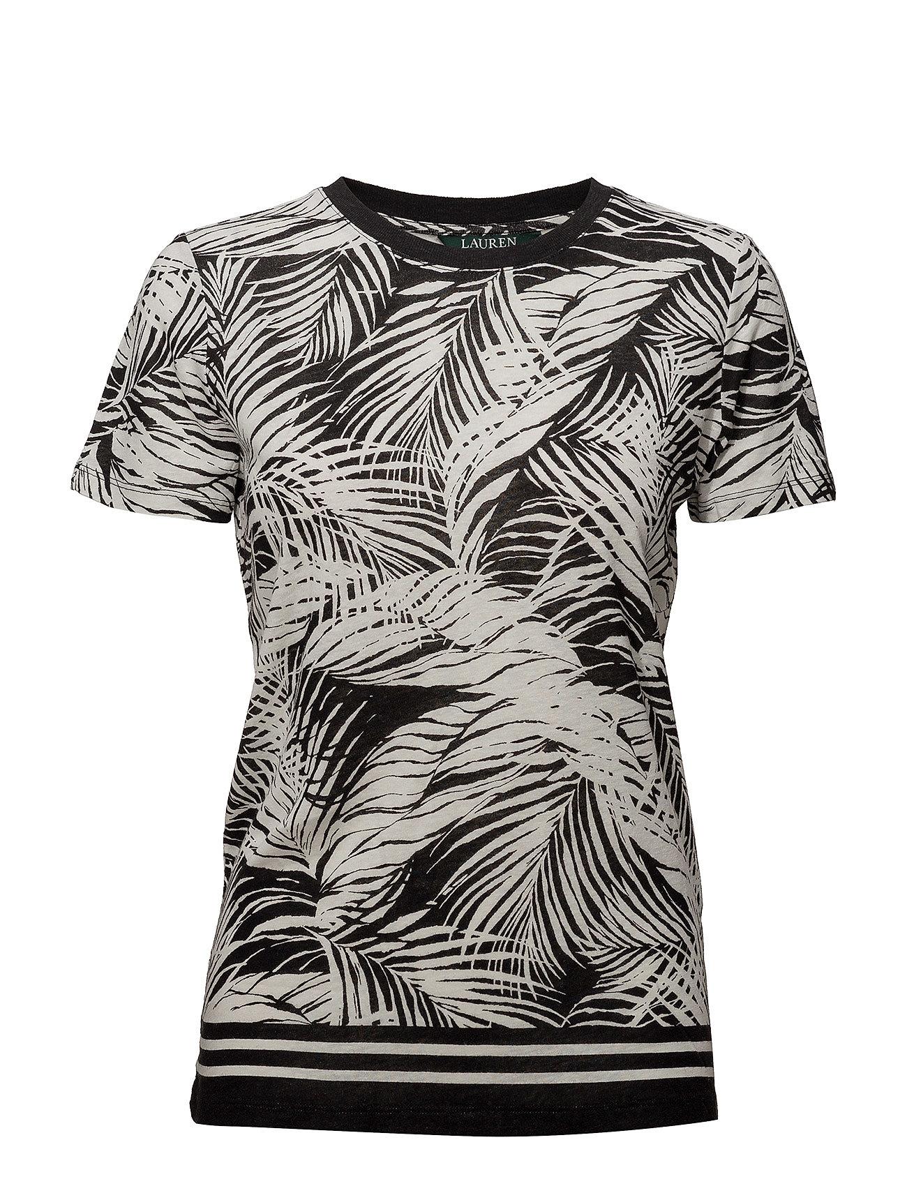 Lauren Ralph Lauren Tropical Print Linen Blend Top Ögrönlar