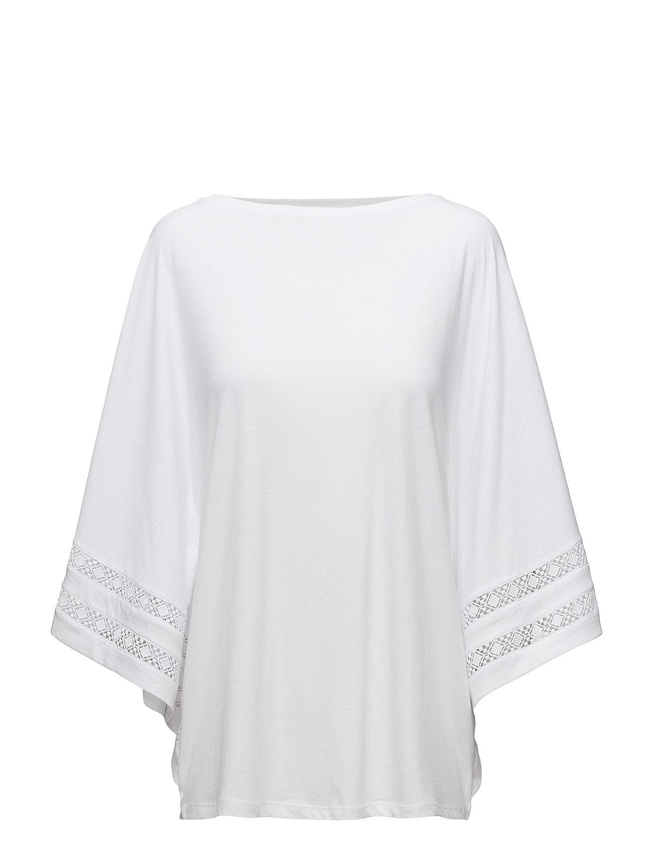 Lauren Ralph Lauren Lace-Trim Jersey Dolman-Sleeve Top - WHITE