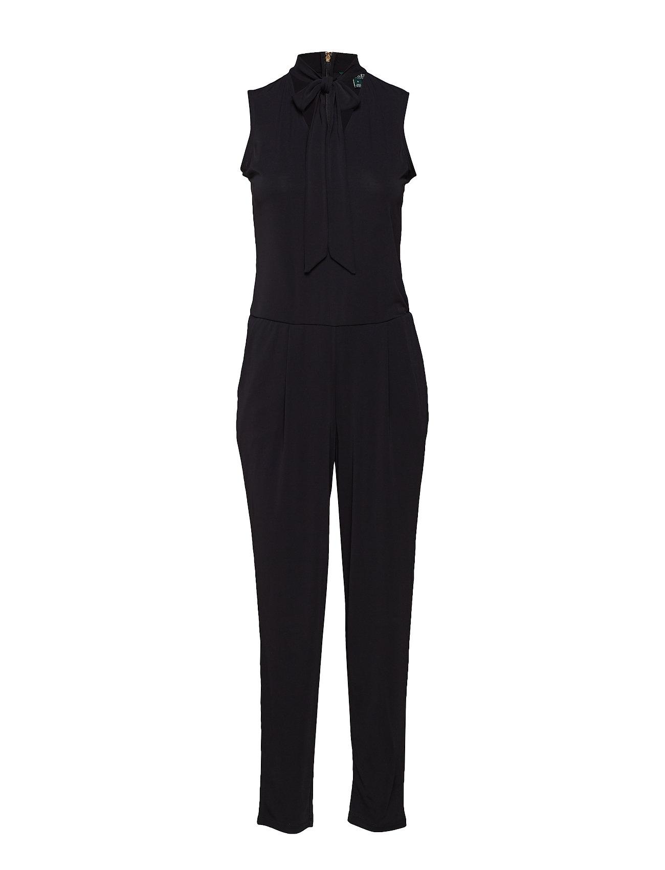 bd408ccc424 Tie-neck Jersey Jumpsuit (Polo Black) (£107.25) - Lauren Ralph ...