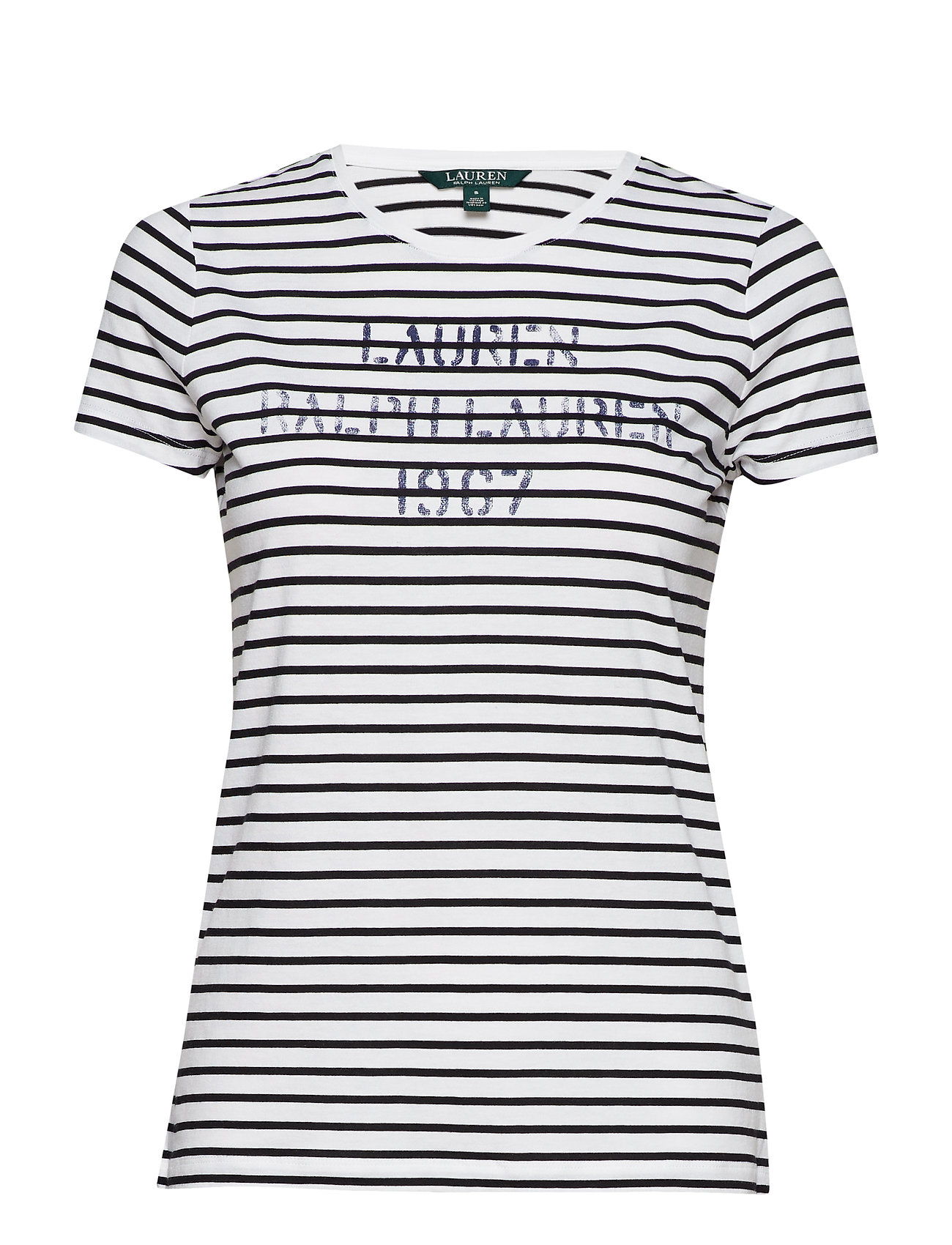 Lauren Ralph Lauren Striped Stencil-Logo T-Shirt