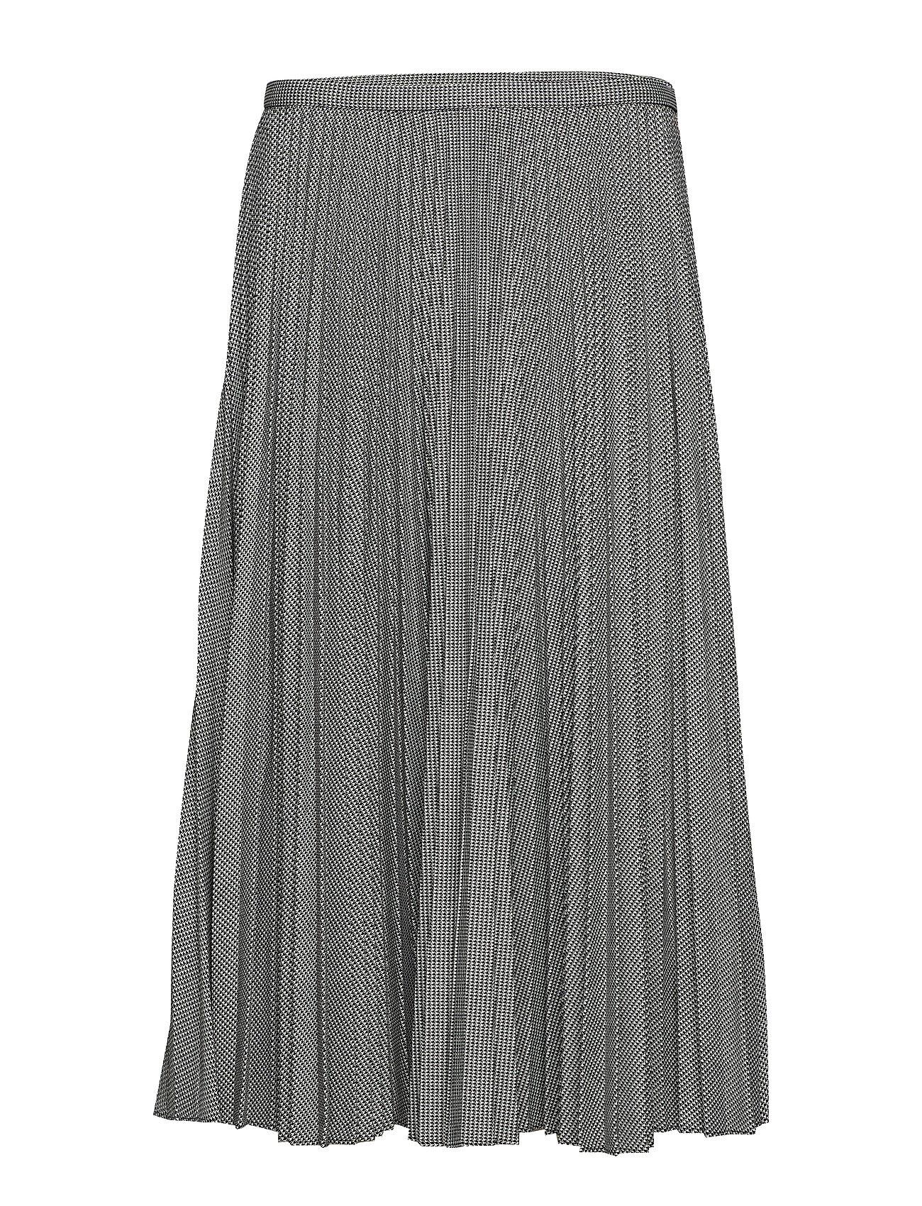 581187822 Pleated Twill A-line Skirt (Black/cream) (£79.75) - Lauren Ralph ...