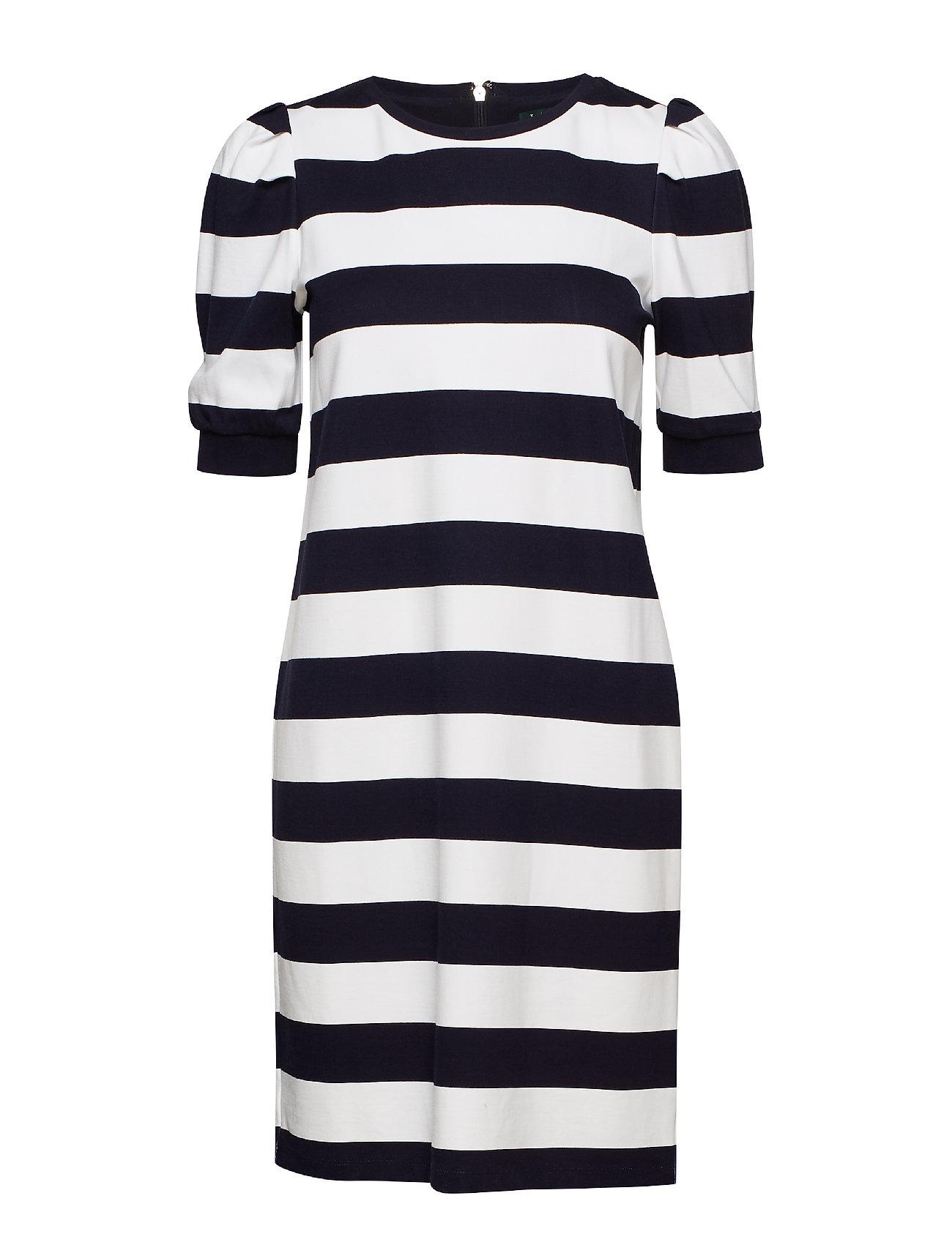 Lauren Ralph Lauren Stripe Puff-Sleeve Ponte Dress