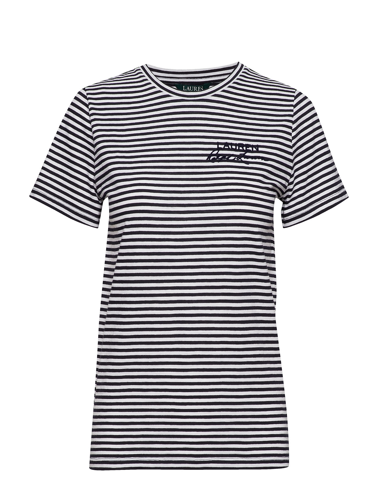 Lauren Ralph Lauren Logo Striped Cotton Tee - LAUREN NAVY/SILK