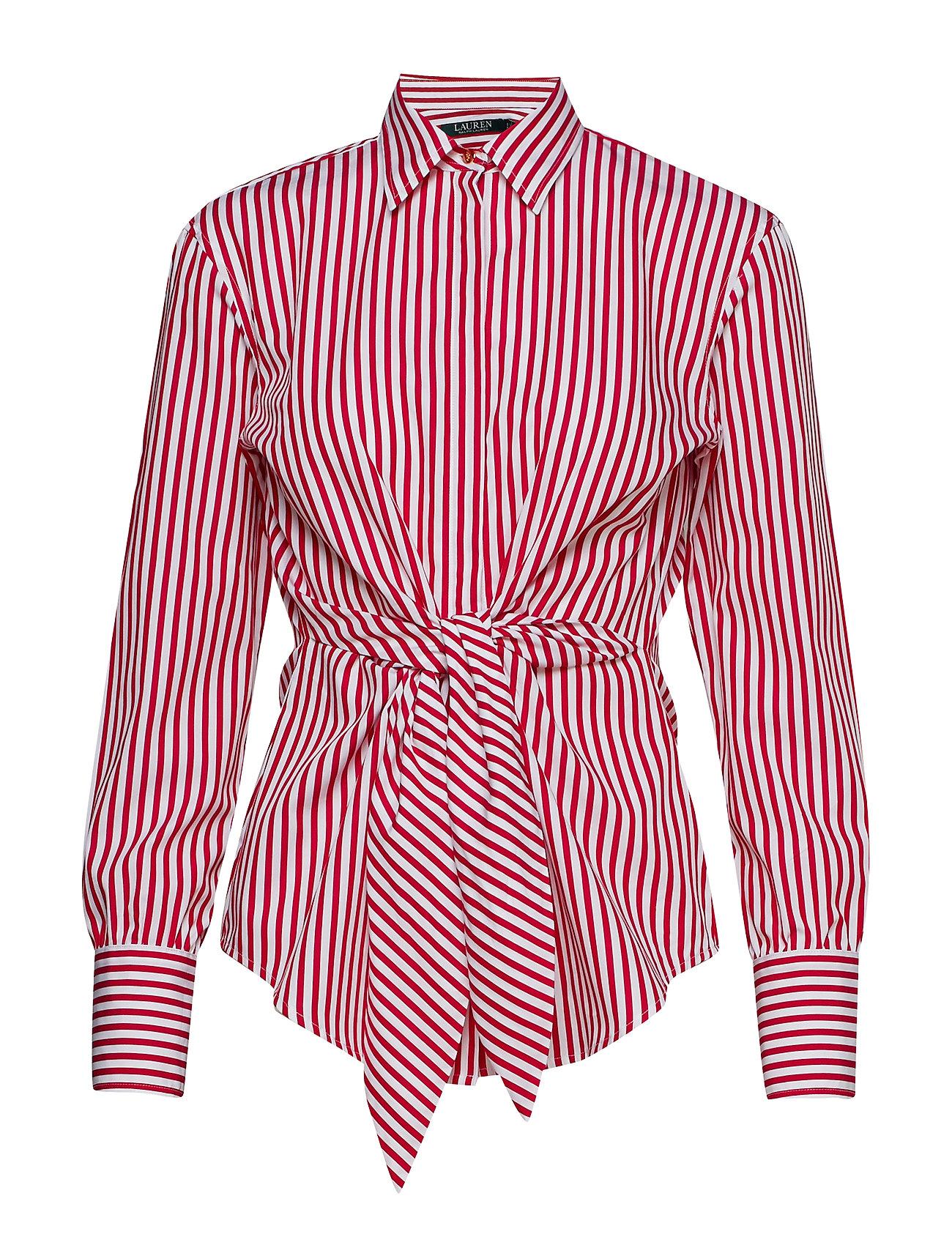 c58106eaf1d Striped Tie-front Cotton Shirt (White/lipstick Re) (£80.50) - Lauren ...