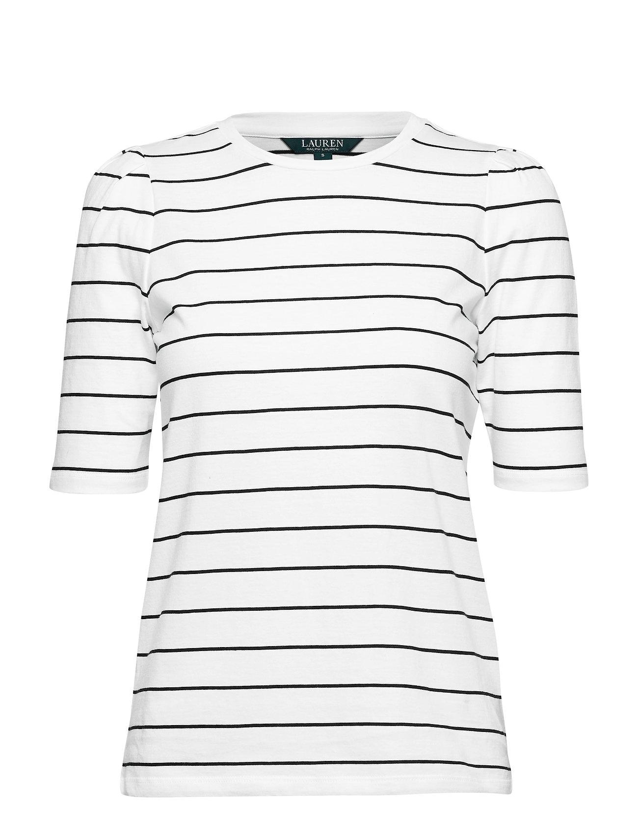 Lauren Ralph Lauren Puff-Sleeve Jersey Top - SILK WHITE/POLO B
