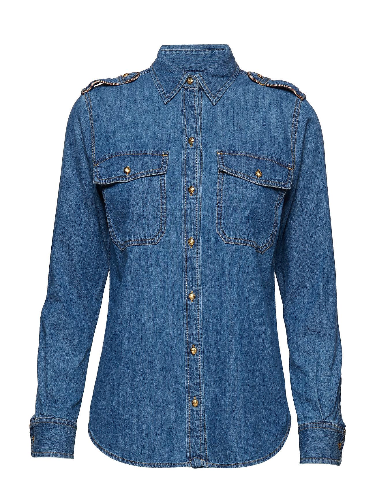 Lauren Ralph Lauren Epaulet Denim Shirt - INDIGO FLORA WASH