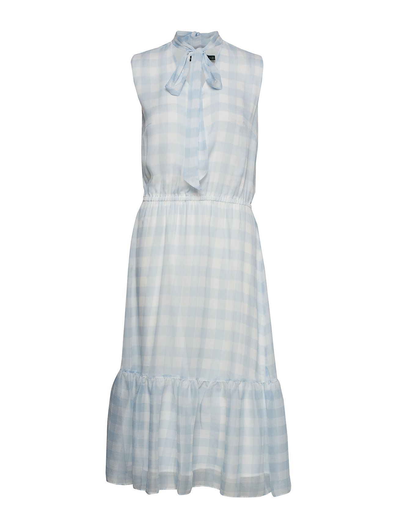 8dc24515 Gingham Tie-neck Dress (Silk White/englis) (£107.25) - Lauren Ralph ...