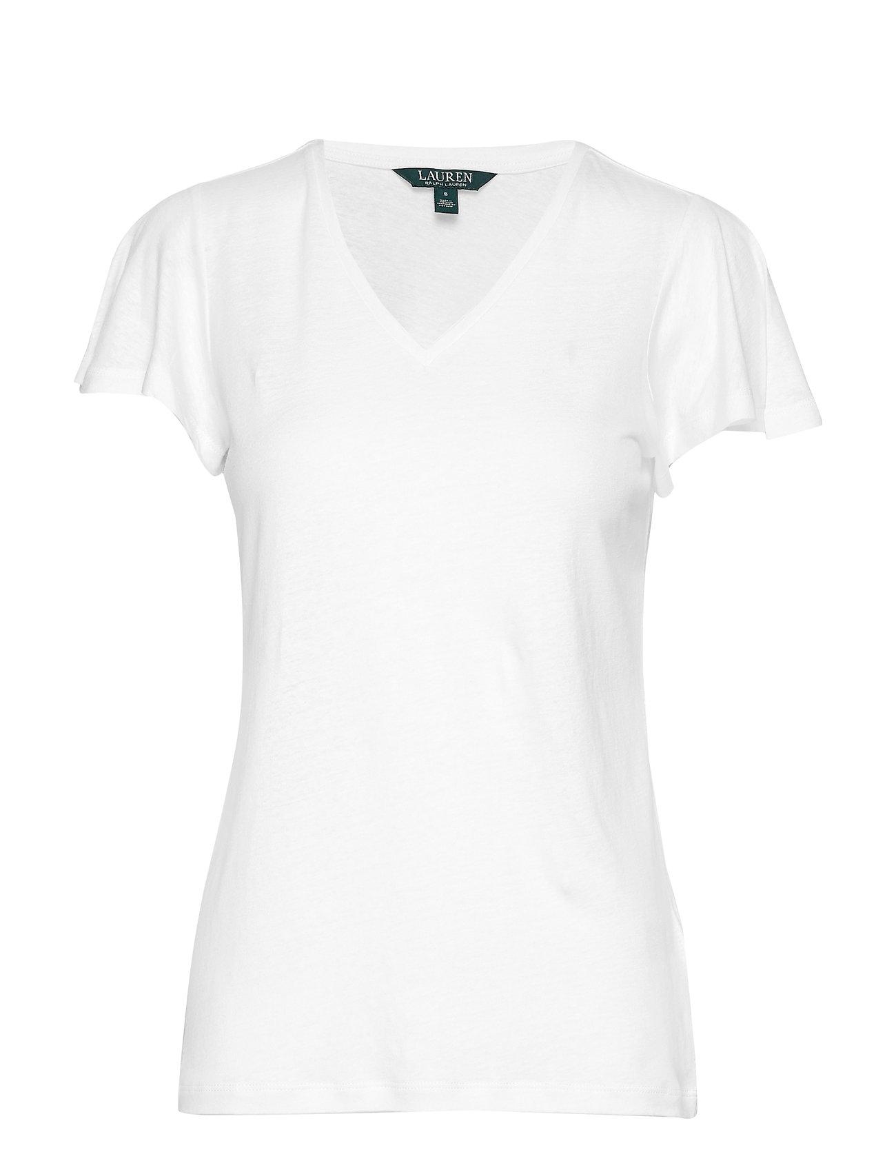 Lauren Ralph Lauren Linen-Blend Flutter-Sleeve Tee - SILK WHITE
