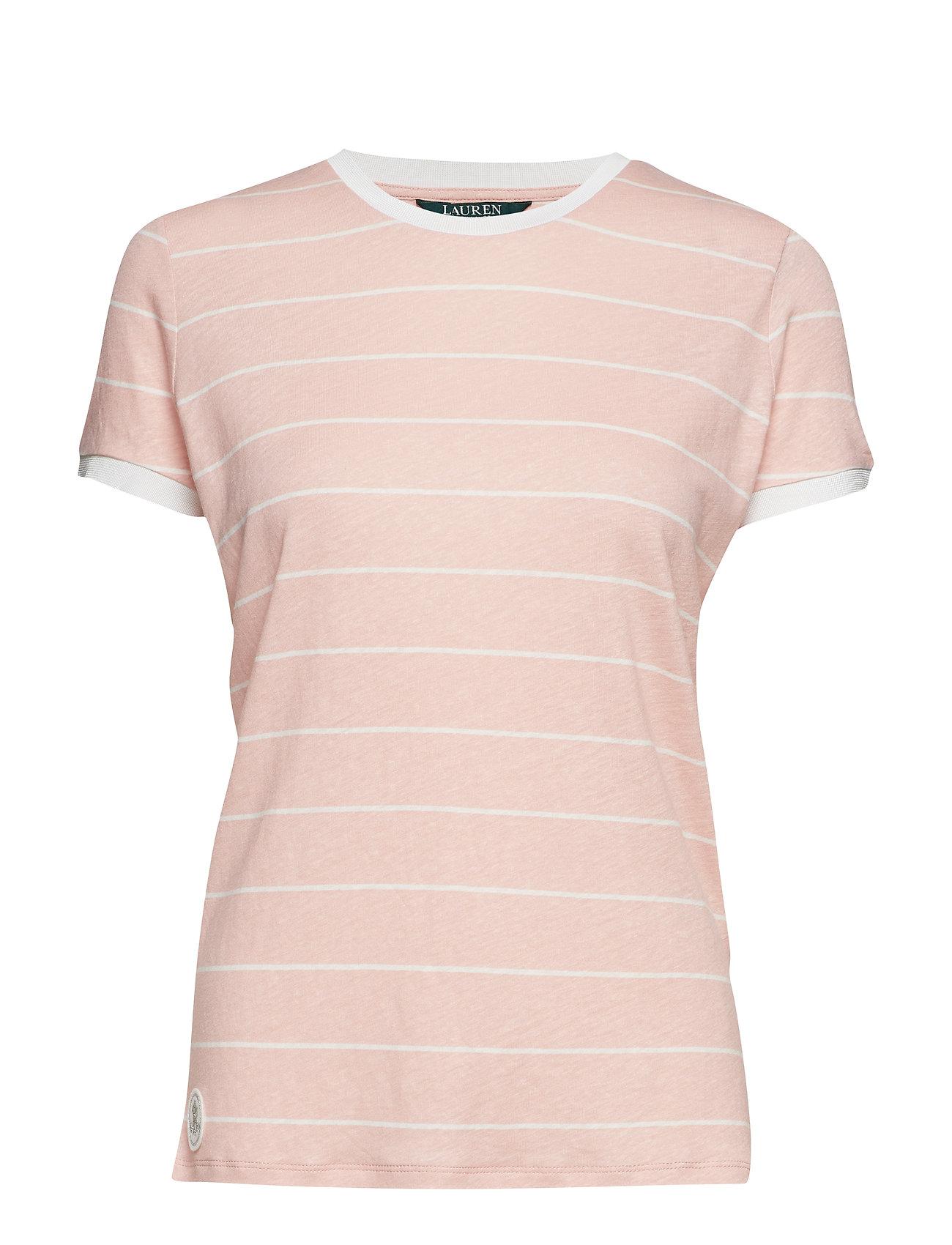 Lauren Ralph Lauren Striped Linen-Blend Tee - PRIMROSE/MASCARPO