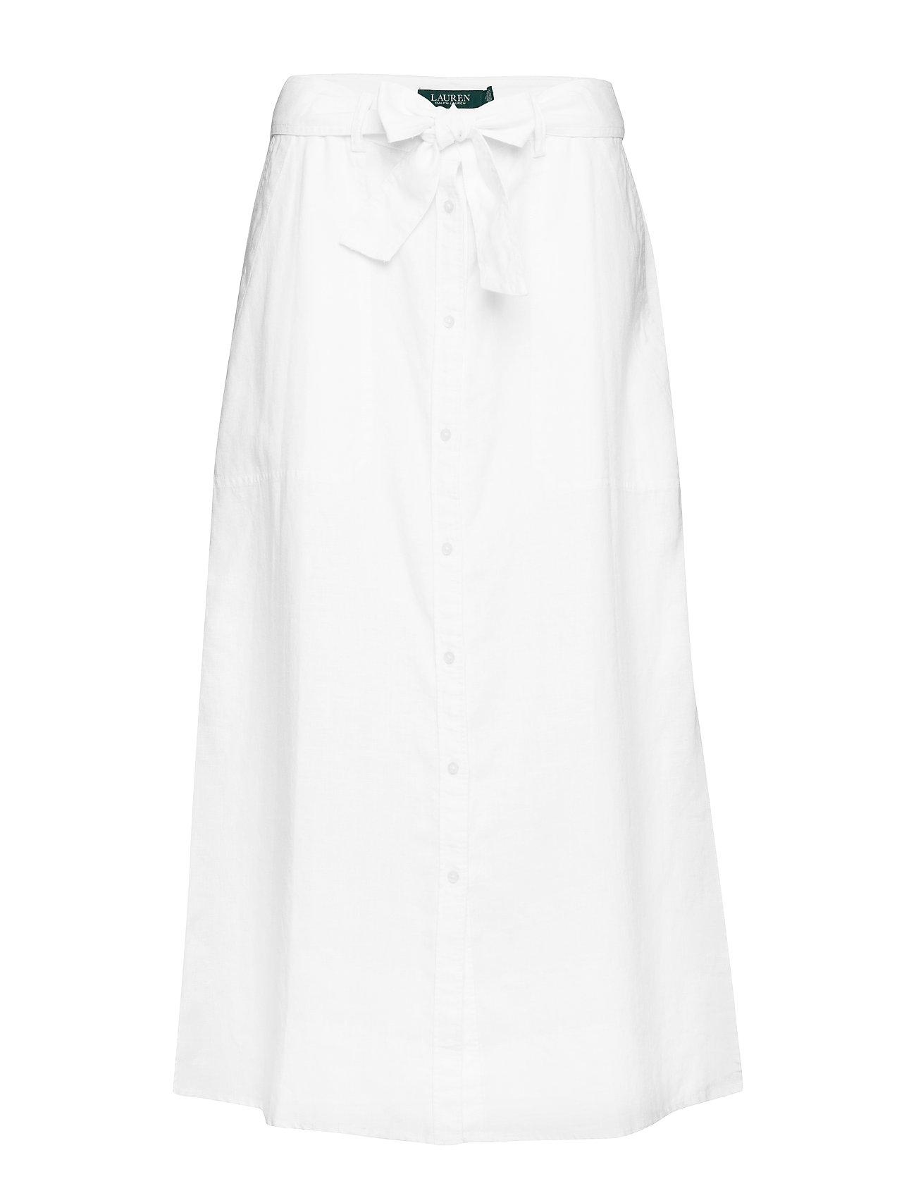 Lauren Ralph Lauren Buttoned Linen Skirt - WHITE