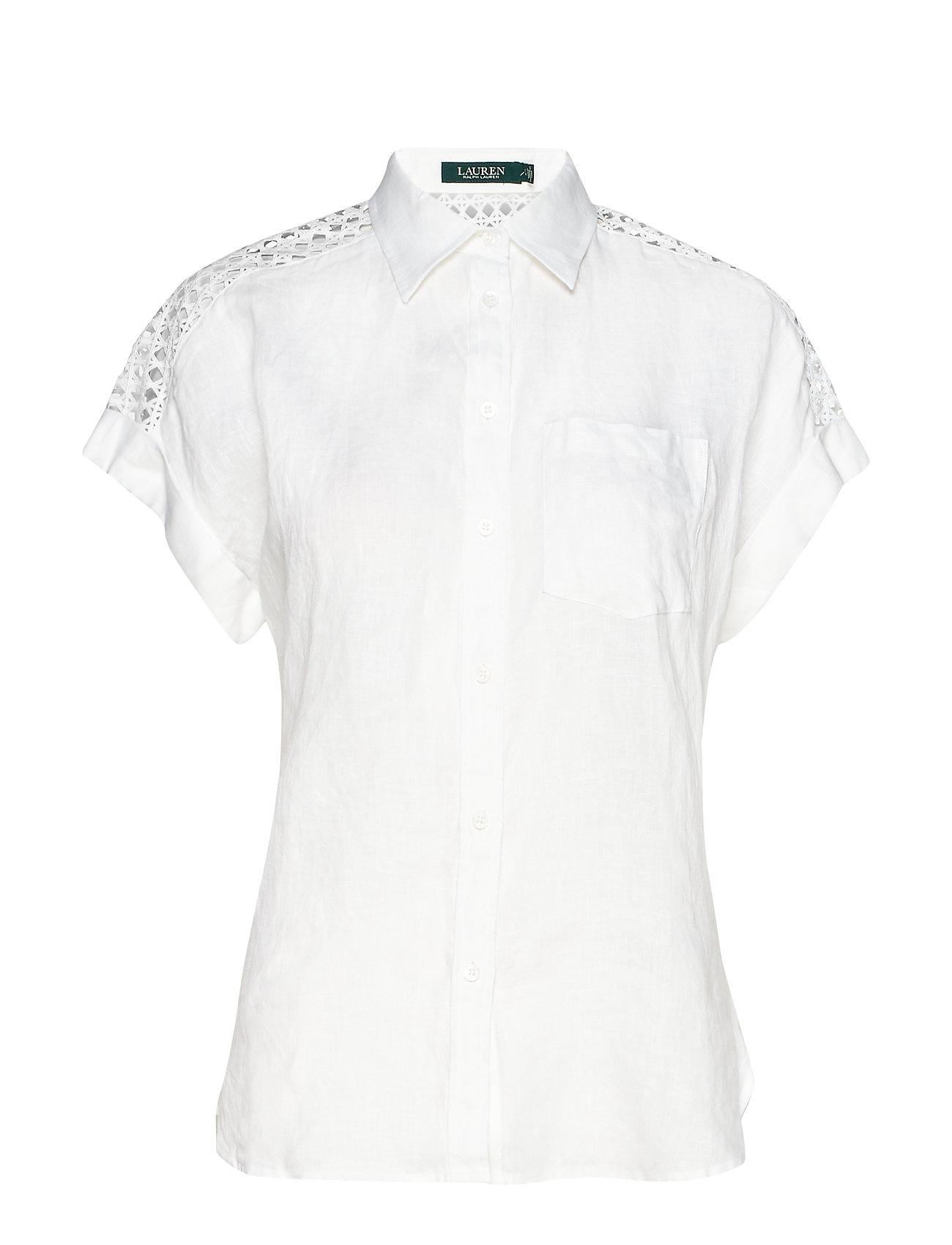 Lauren Ralph Lauren Lace-Yoke Dolman-Sleeve Shirt - WHITE