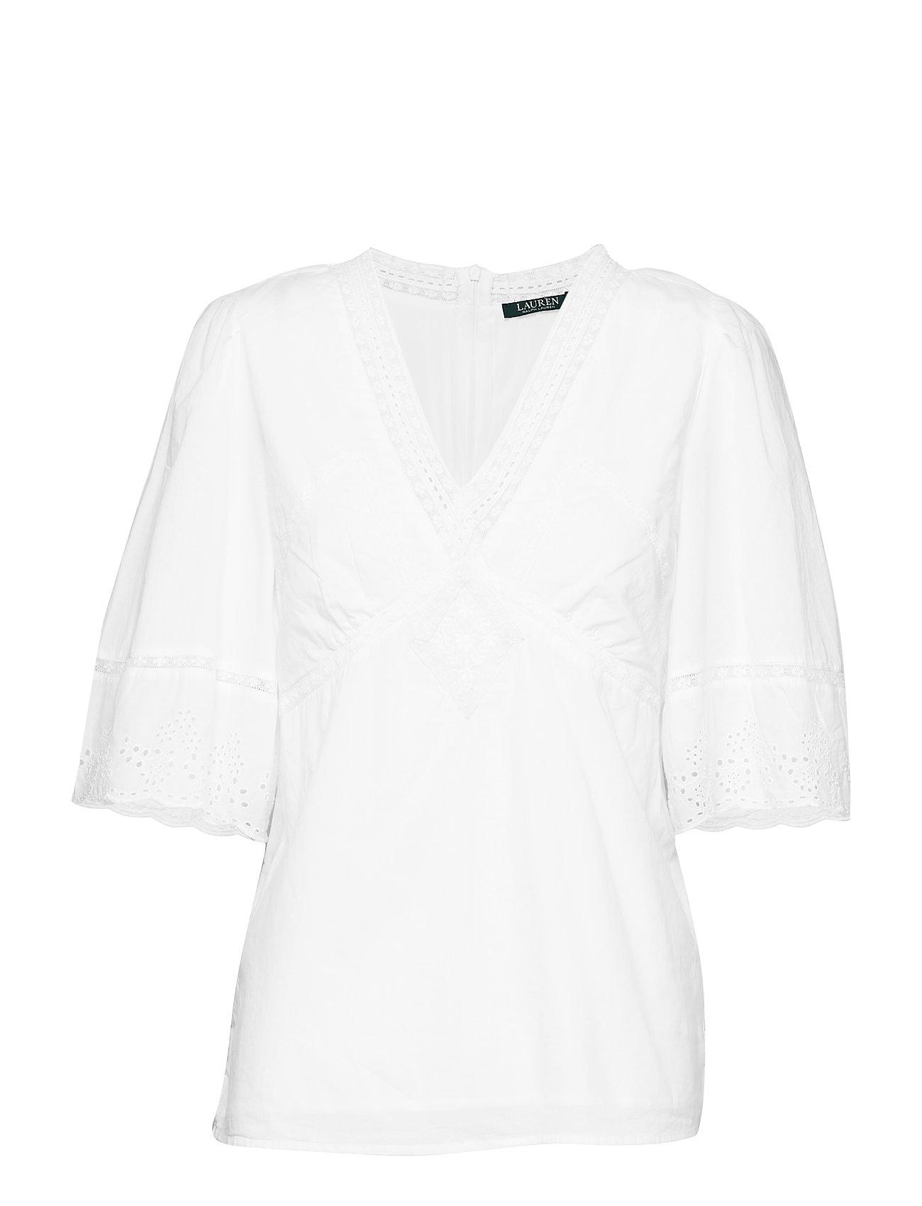Lauren Ralph Lauren Eyelet-Trim Cotton Top - WHITE