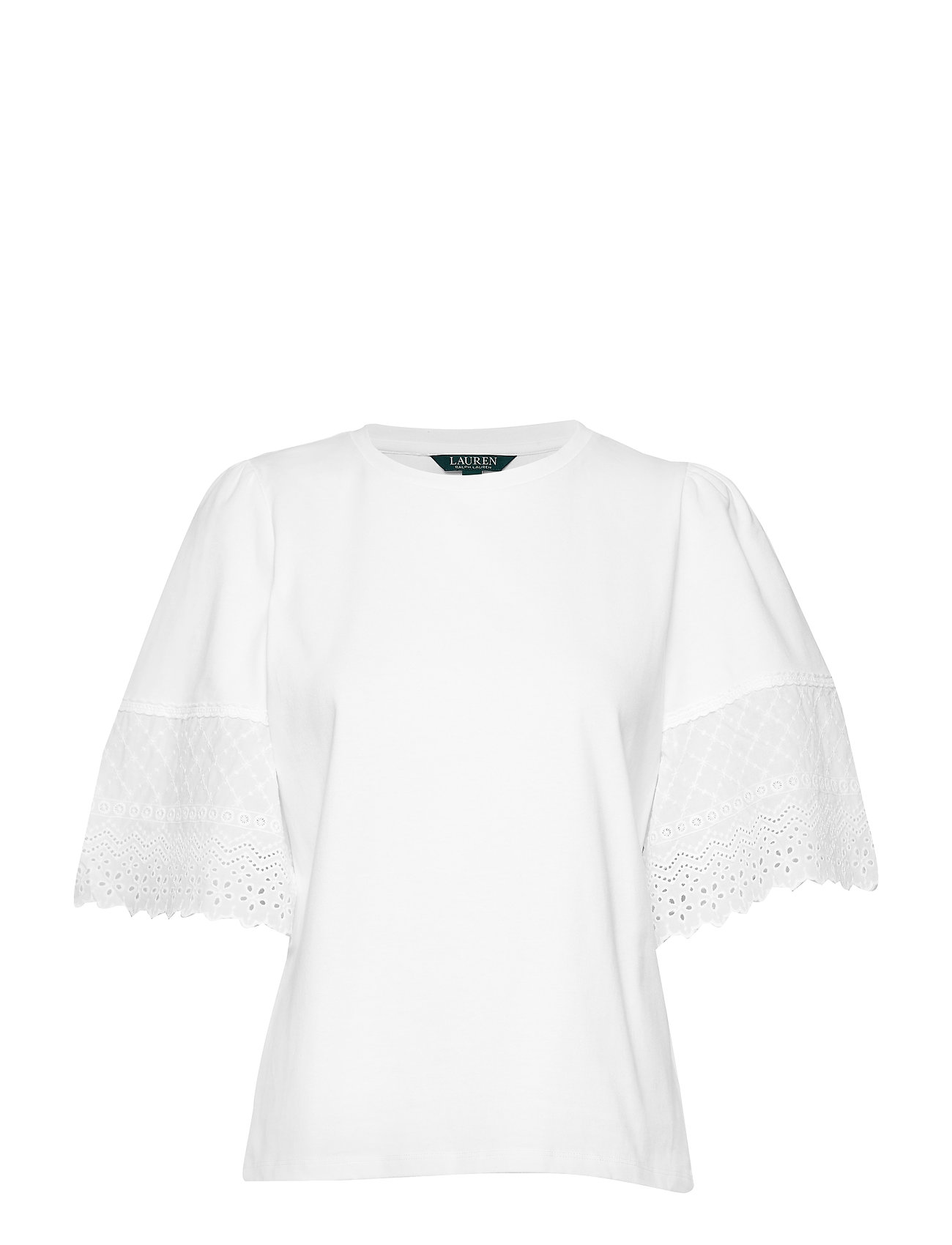 Lauren Ralph Lauren Eyelet Cotton Bell-Sleeve Top - WHITE