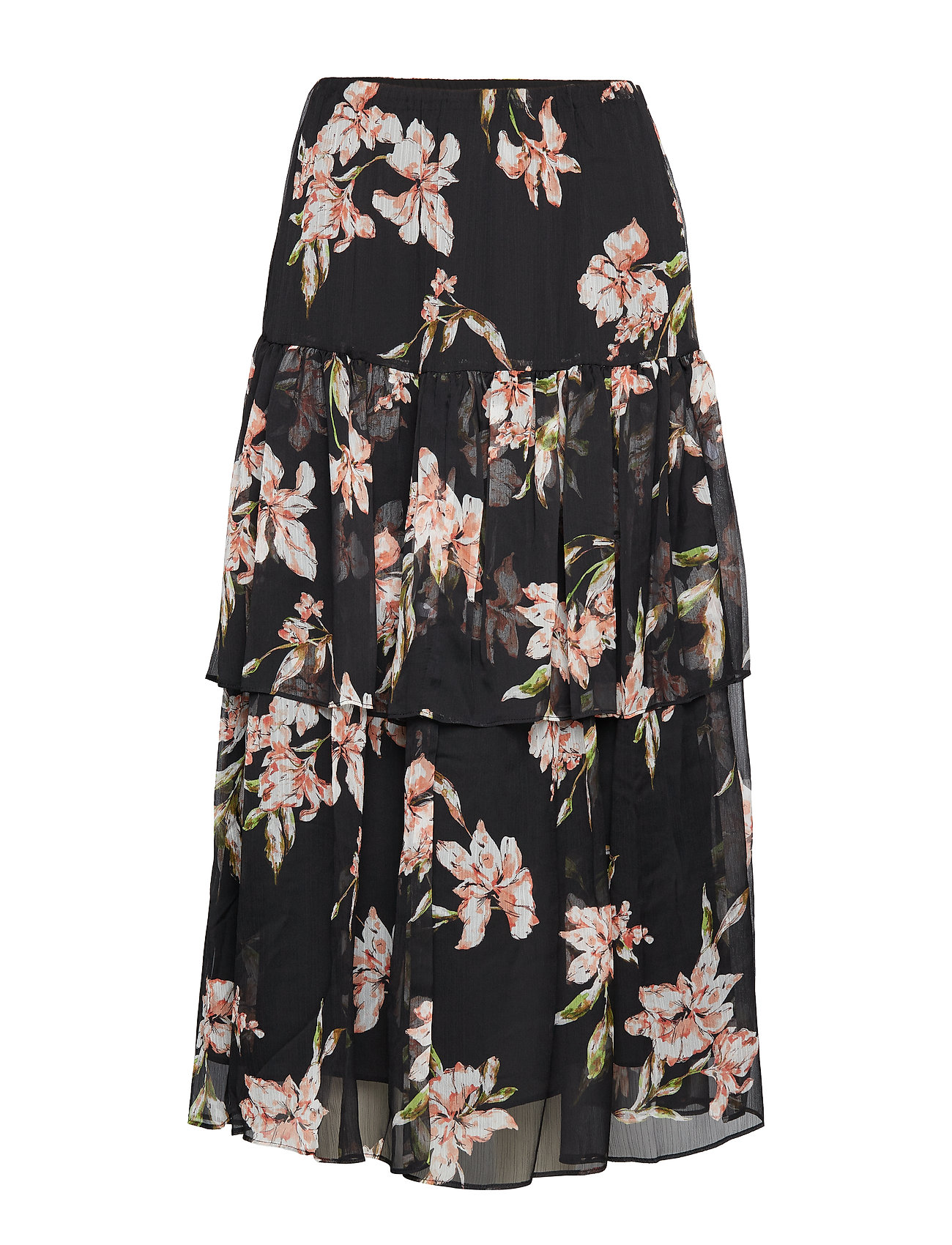 53fd716571 Tiered Georgette Peasant Skirt (Polo Black Multi) (£145) - Lauren ...