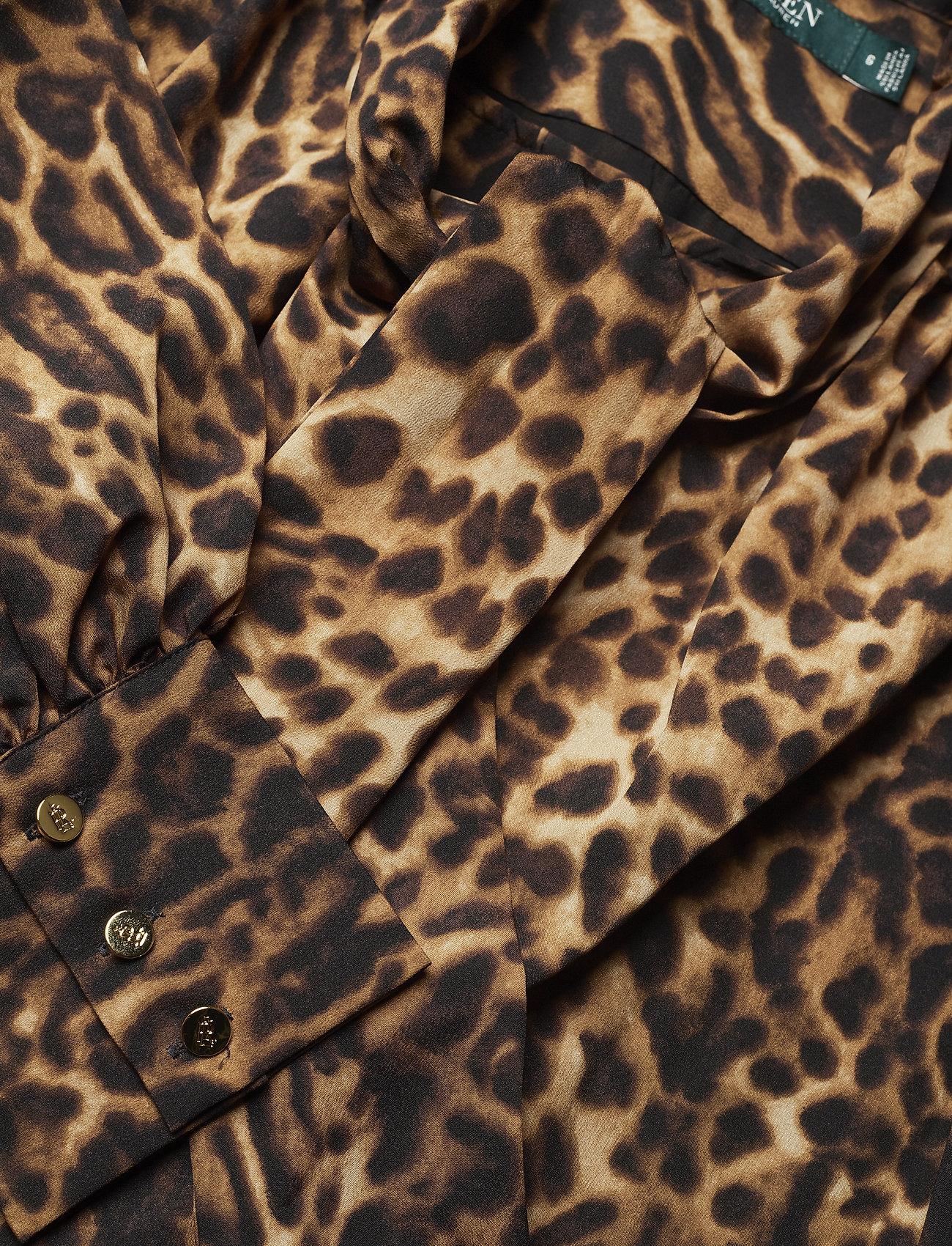 Lauren Ralph Lauren Crepe Tie-Neck Dress - Kjoler POLO BLACK MULTI - Dameklær Spesialtilbud