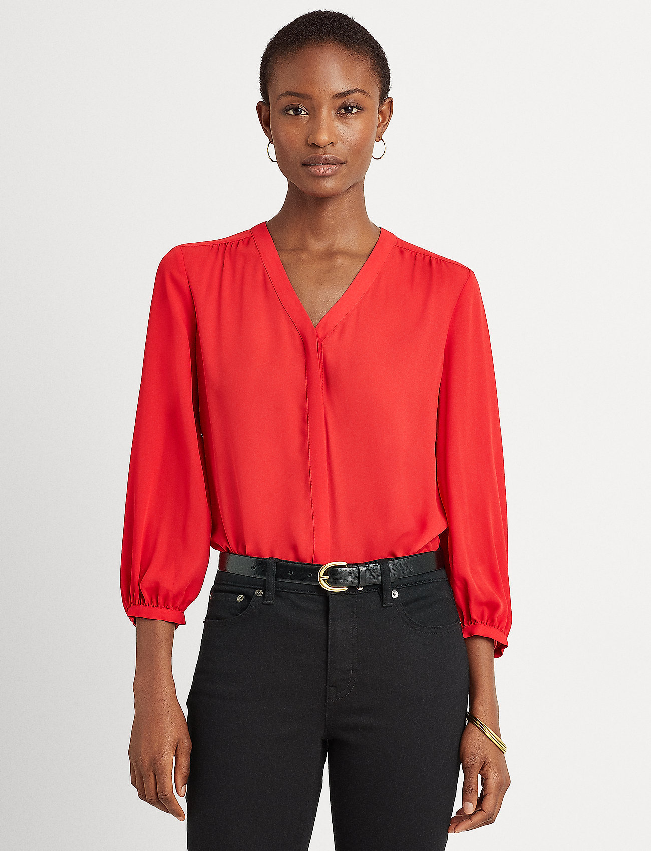 Lauren Ralph Lauren - Pleated Georgette Top - blouses à manches longues - lipstick red - 0
