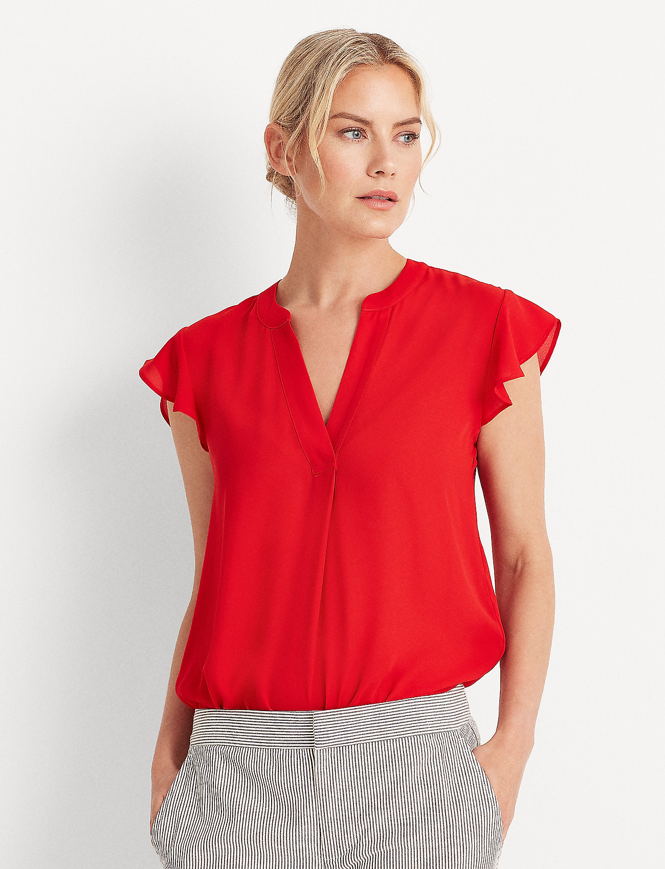 Lauren Ralph Lauren - Georgette Flutter-Sleeve Top - blouses à manches courtes - orient red - 0