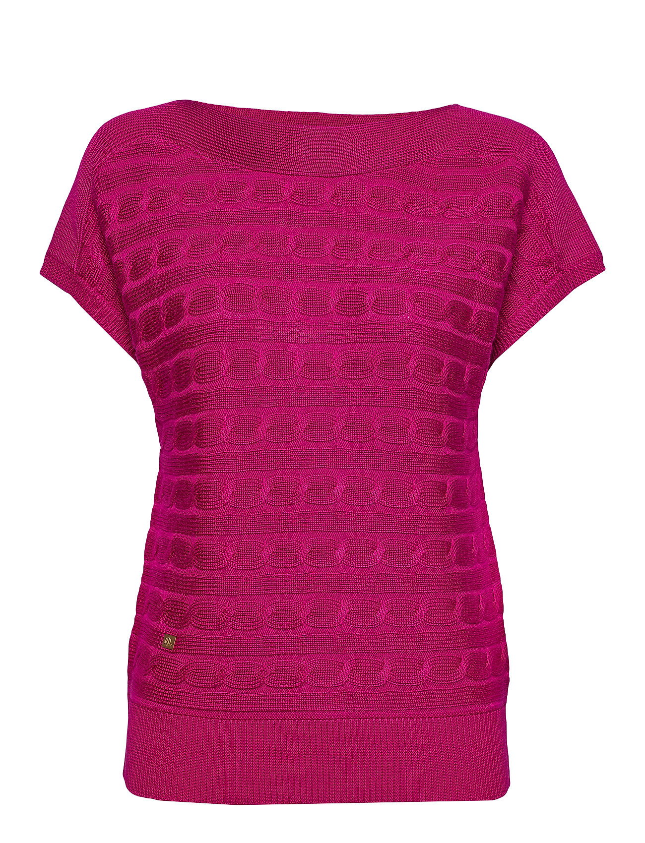 Lauren Ralph Lauren Cable-Knit Boatneck Sweater - BRIGHT FUCHSIA