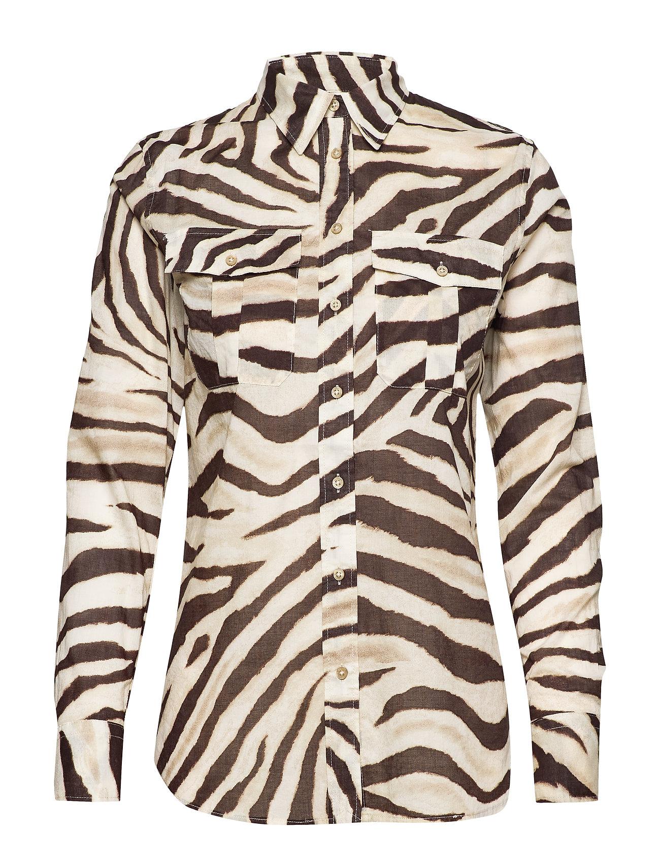 Lauren Ralph Lauren Print Cotton Shirt - DK BROWN MULTI