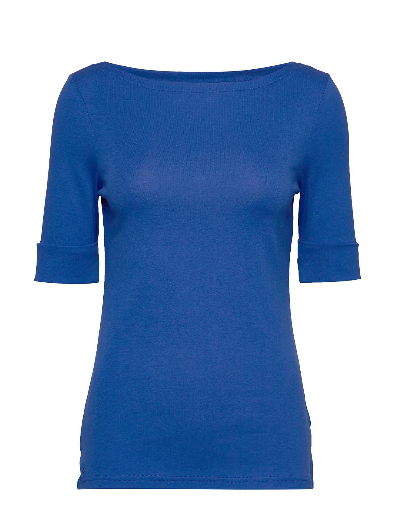 Lauren Ralph Lauren Cotton-Blend Boatneck Top - BLUE GLACIER