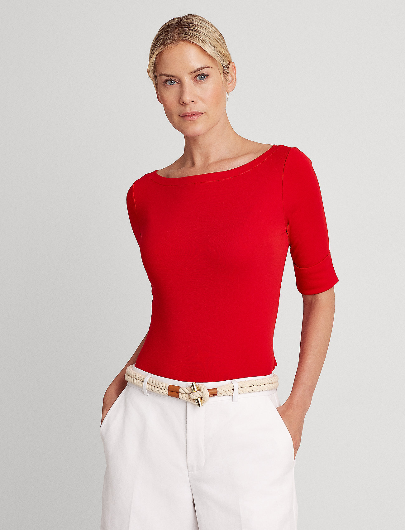 Lauren Ralph Lauren - Cotton-Blend Boatneck Top - t-shirts - orient red - 0
