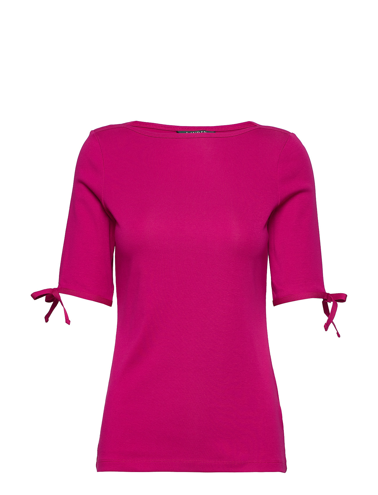 Lauren Ralph Lauren Cotton-Blend Boatneck Top - BRIGHT FUCHSIA