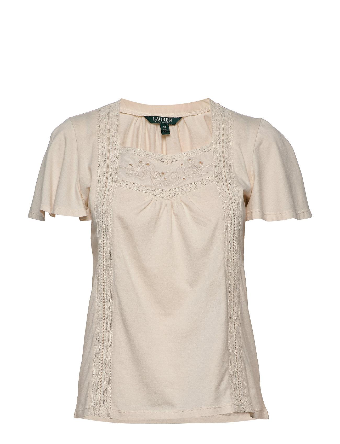 Lauren Ralph Lauren Jersey Flutter-Sleeve Top - MASCARPONE CREAM