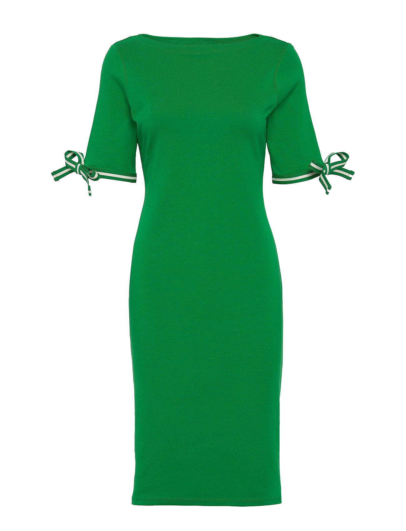 Lauren Ralph Lauren Cotton Boatneck Dress - HEDGE GREEN