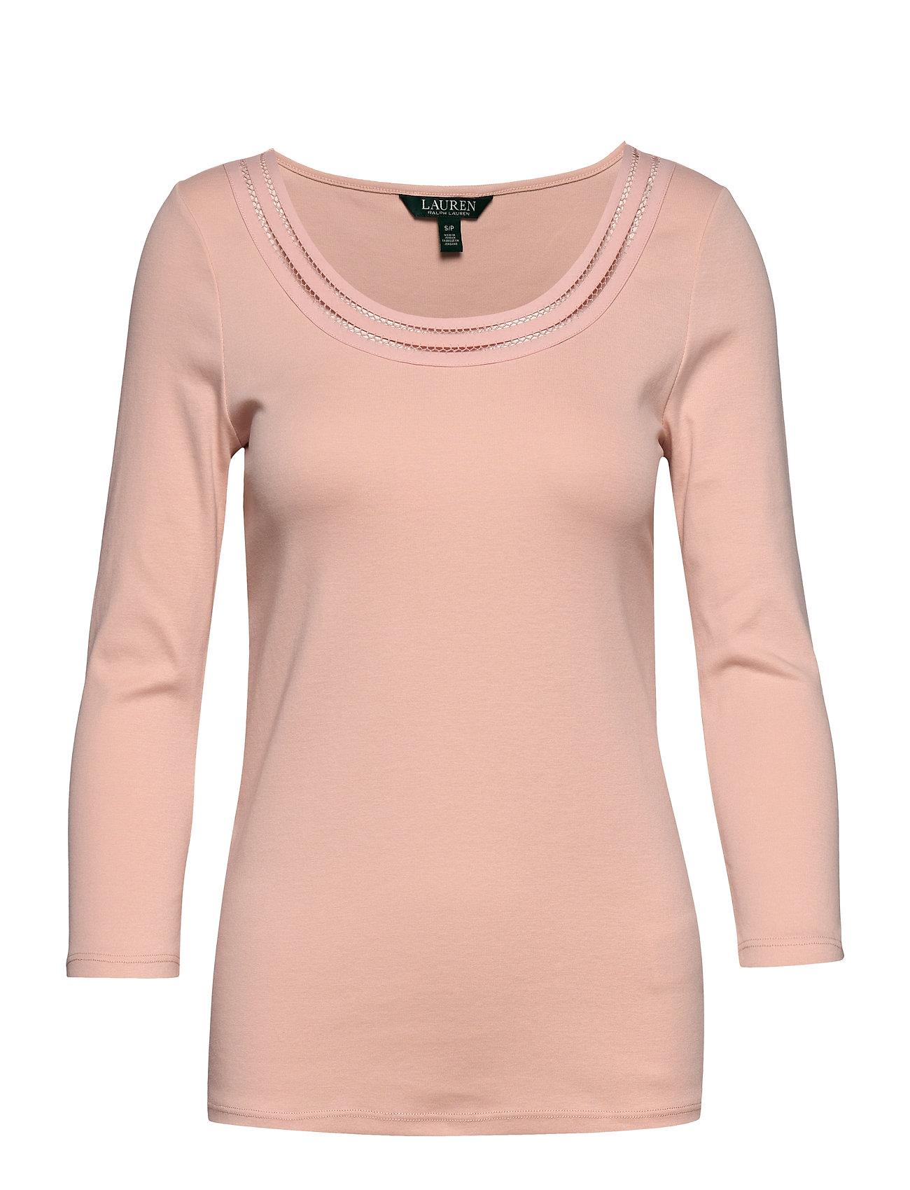 Lauren Ralph Lauren Cotton Elbow-Sleeve Top - PINK HYDRANGEA