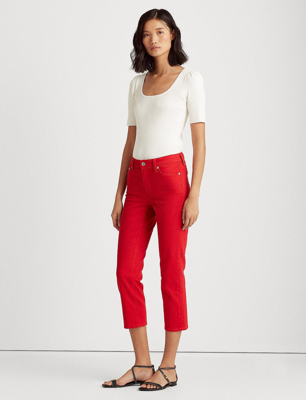Lauren Ralph Lauren - Premier Straight Crop Jean - slim jeans - bold red wash - 0
