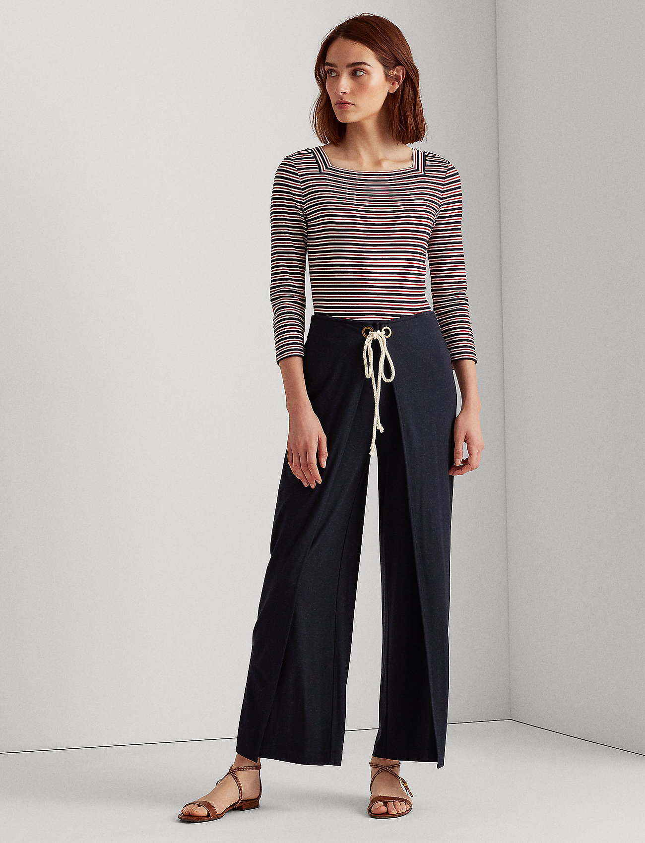 Lauren Ralph Lauren - Stretch Wide-Leg Pant - casual bukser - lauren navy - 0