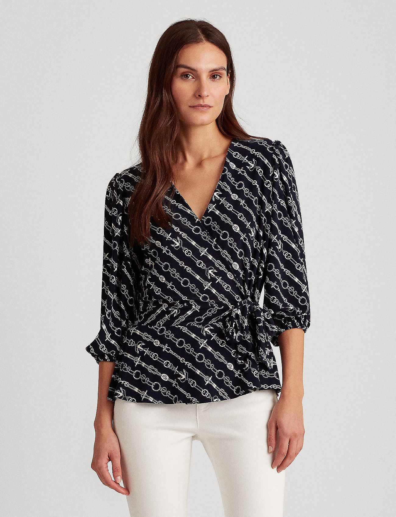 Lauren Ralph Lauren - Anchor-Print Jersey Top - blouses à manches longues - lauren navy/pale - 0