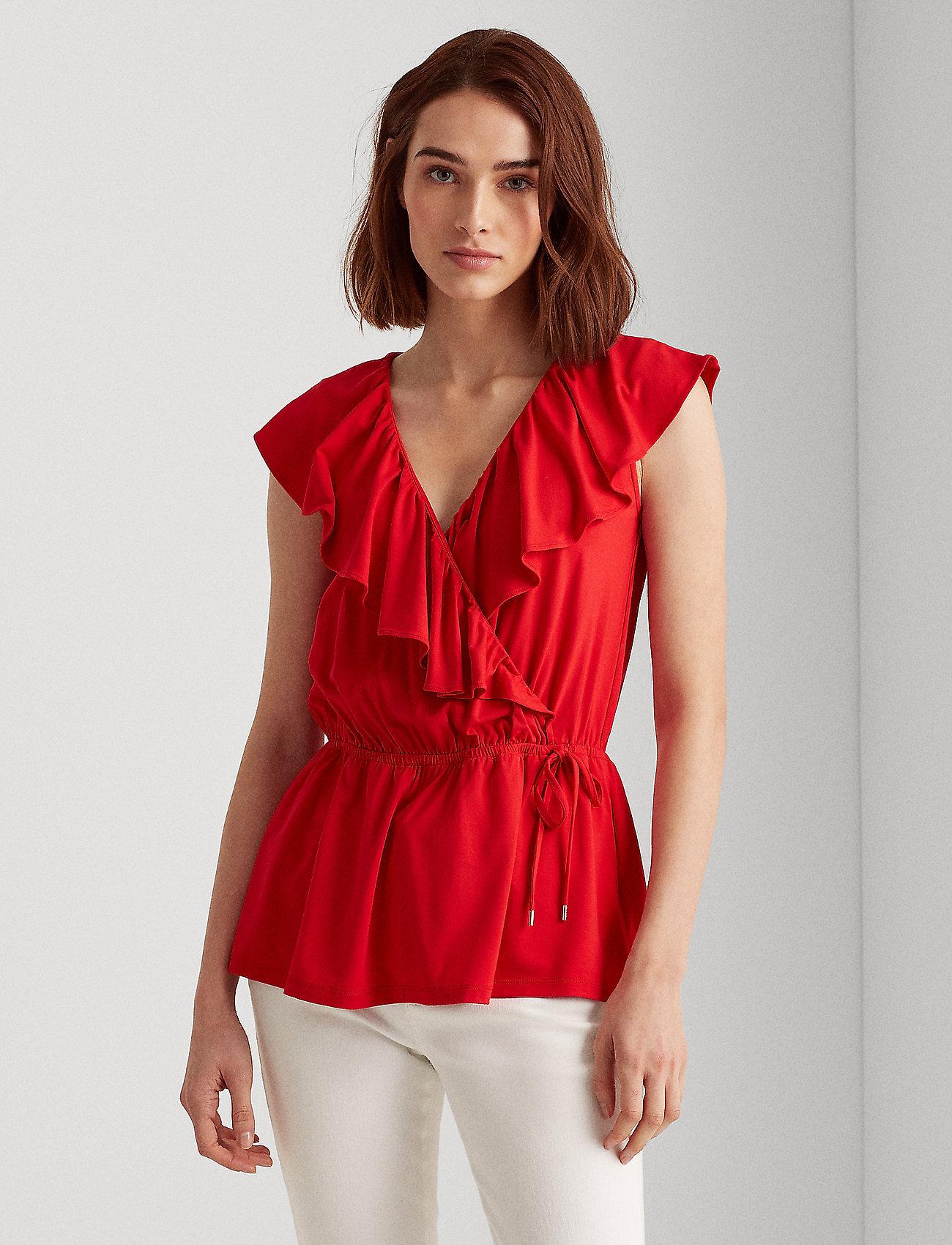 Lauren Ralph Lauren - Ruffle-Trim Jersey Top - Ærmeløse bluser - orient red - 0